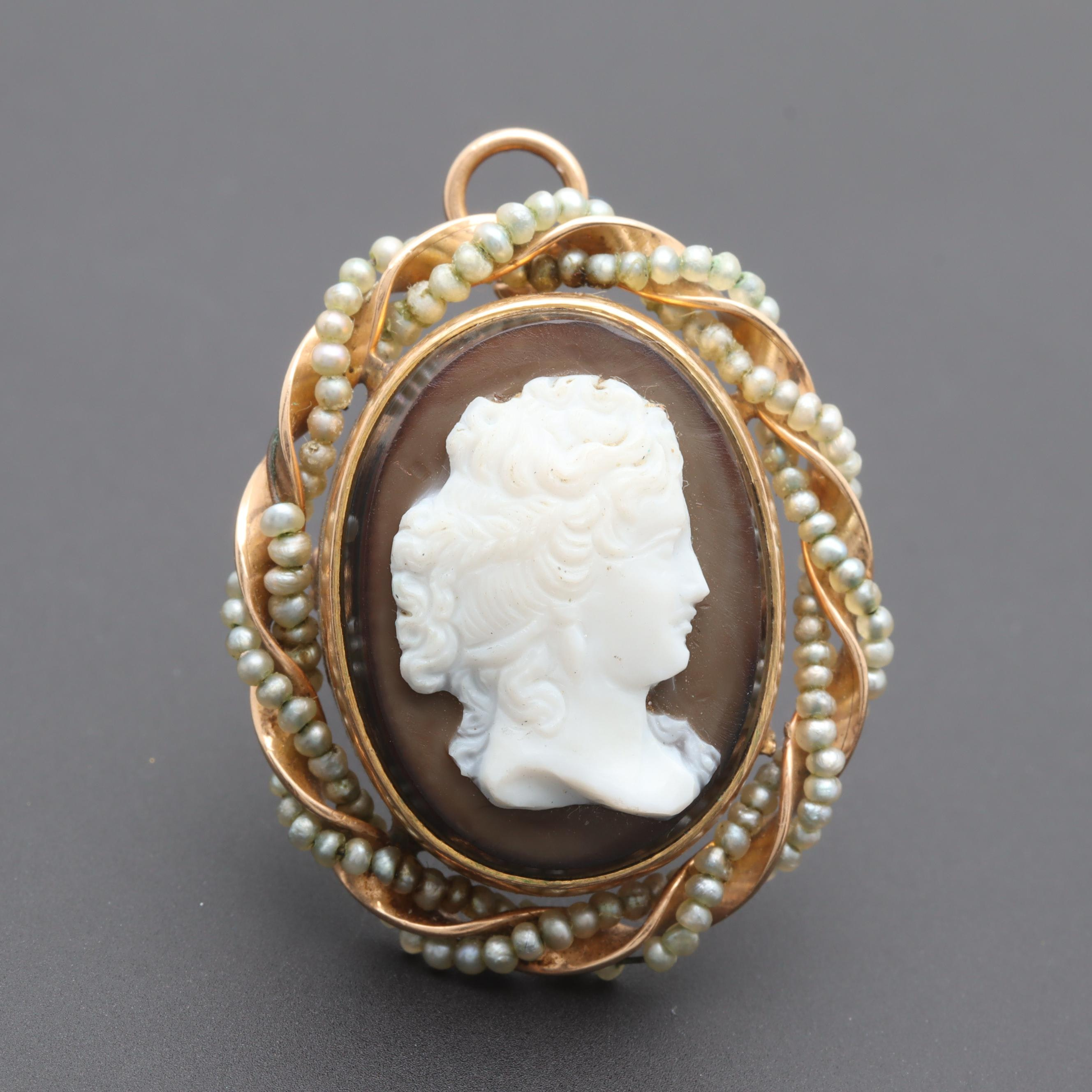 Antique 10K Yellow Gold Onyx Cameo Converter Brooch