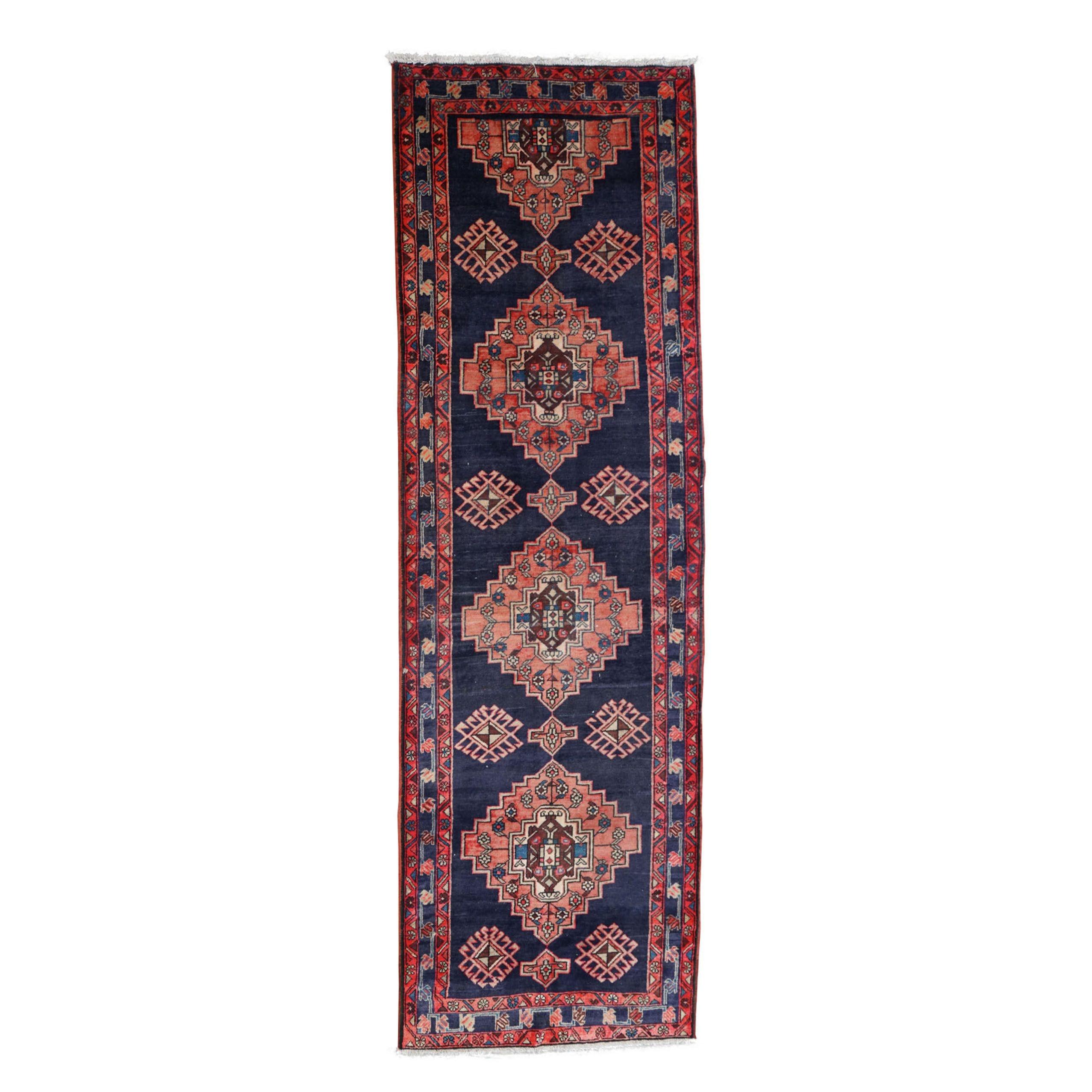 Hand-Knotted Caucasian Daghestan Wool Carpet Runner