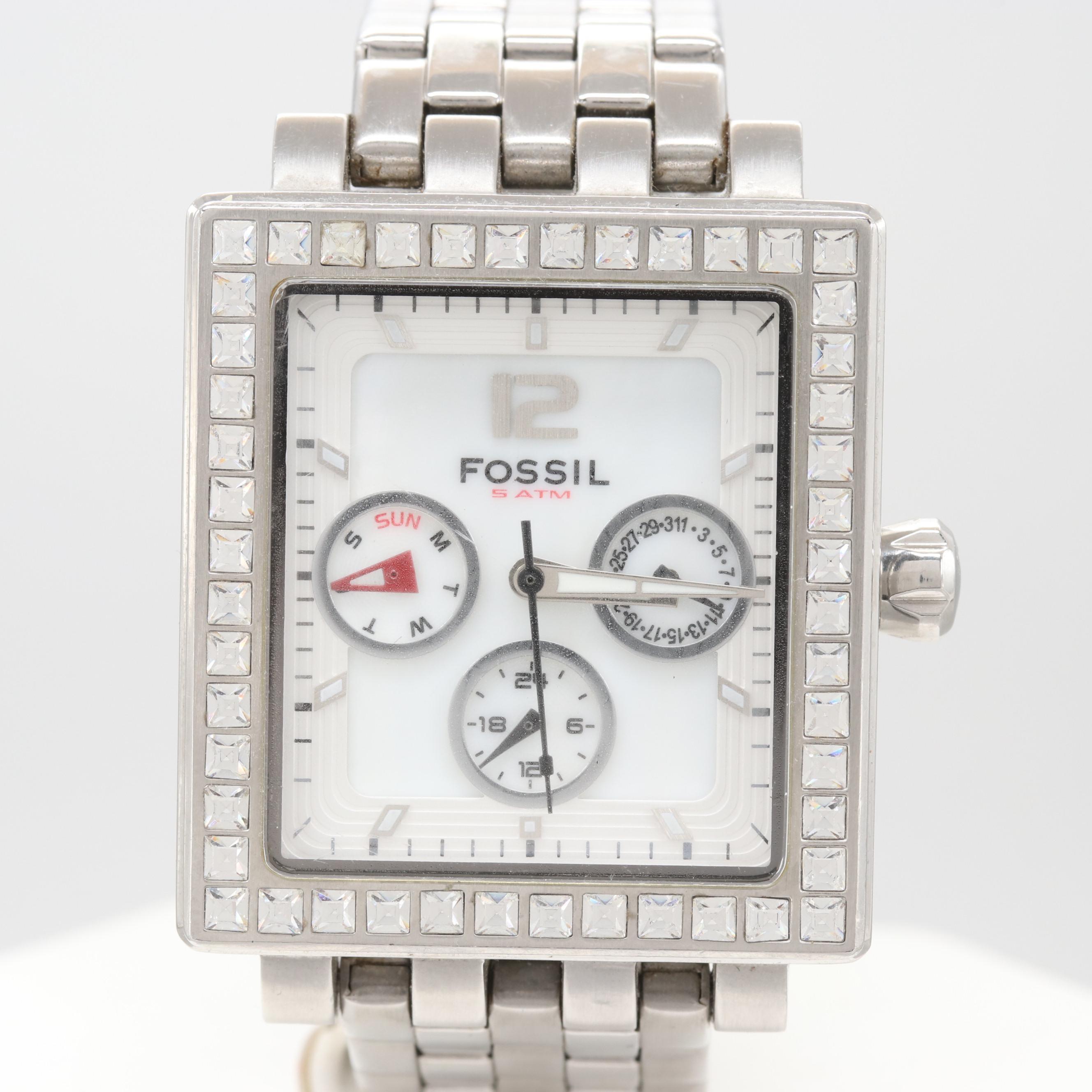 Fossil Stainless Steel Glass Crystal Model# BQ-9366 Wristwatch