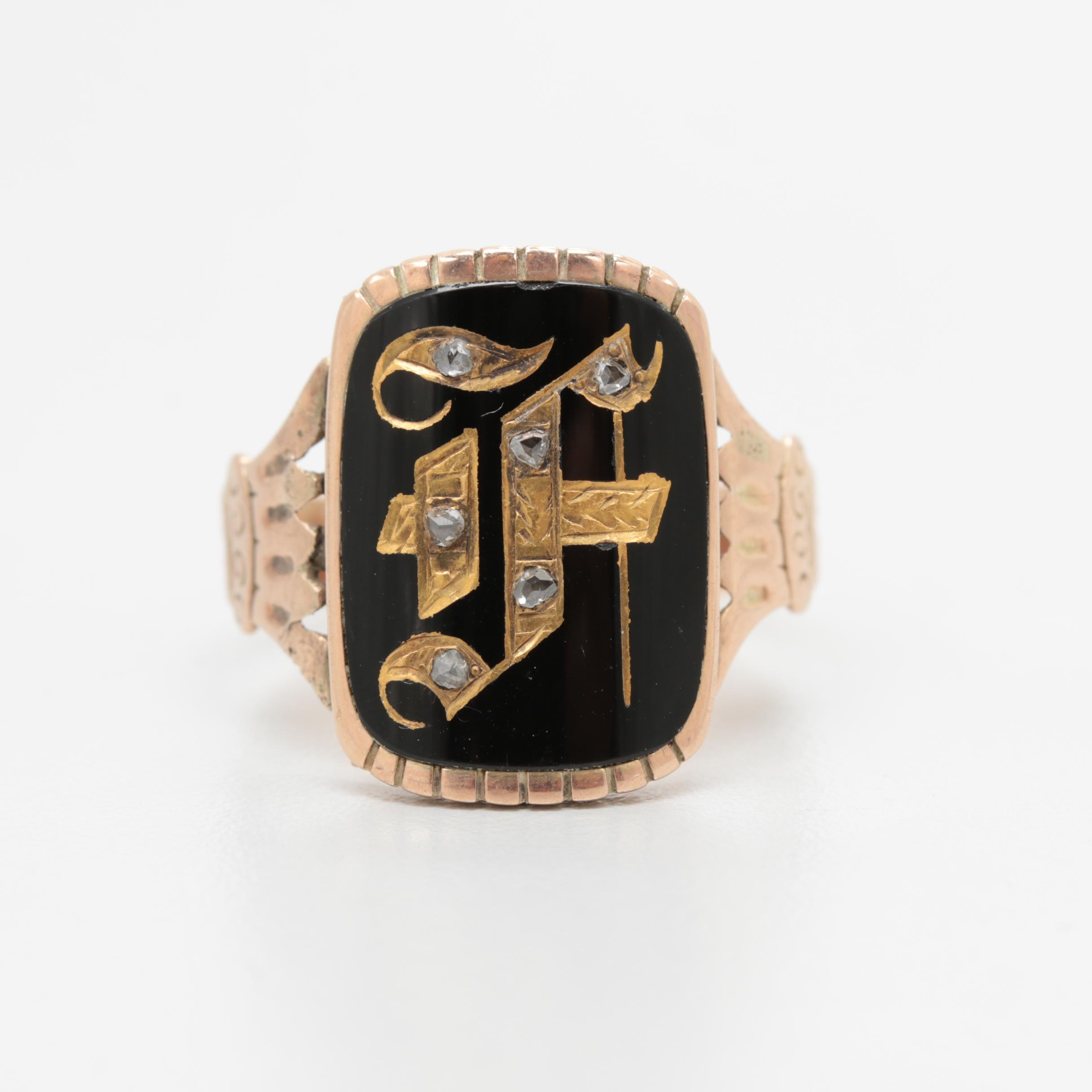Mid-Victorian 10K Yellow Gold Diamond and Onyx Initial Ring