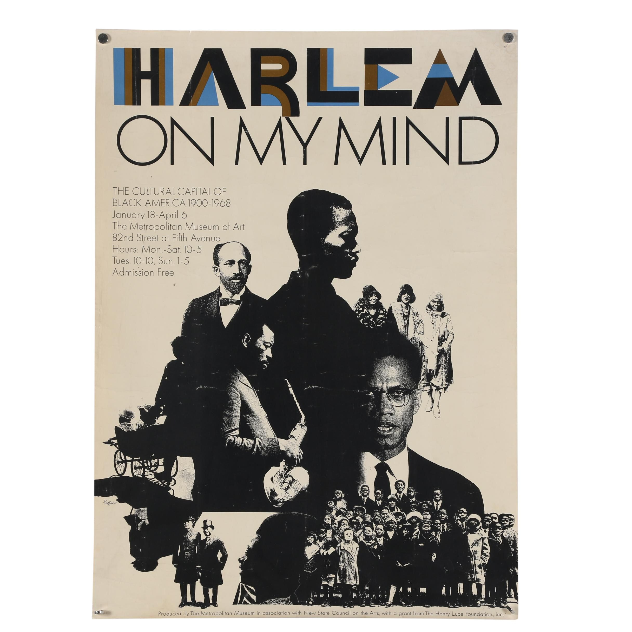 "1969 Metropolitan Museum of Art Promotional Poster ""Harlem on my Mind"""
