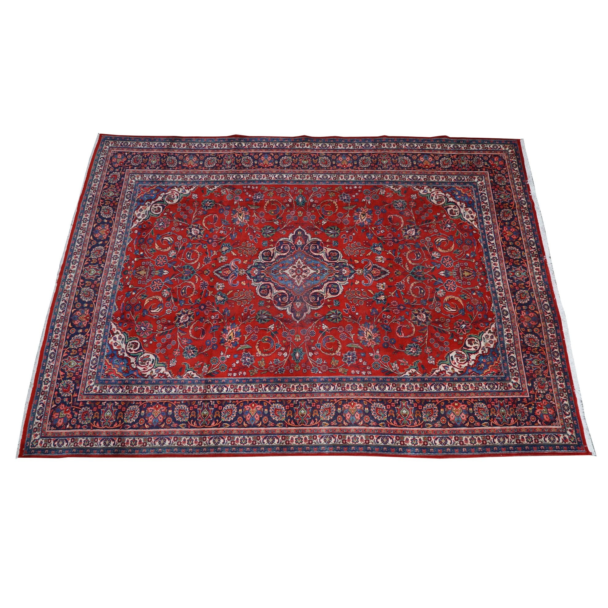 Hand-Knotted Persian Mashhad Wool Room Sized Rug