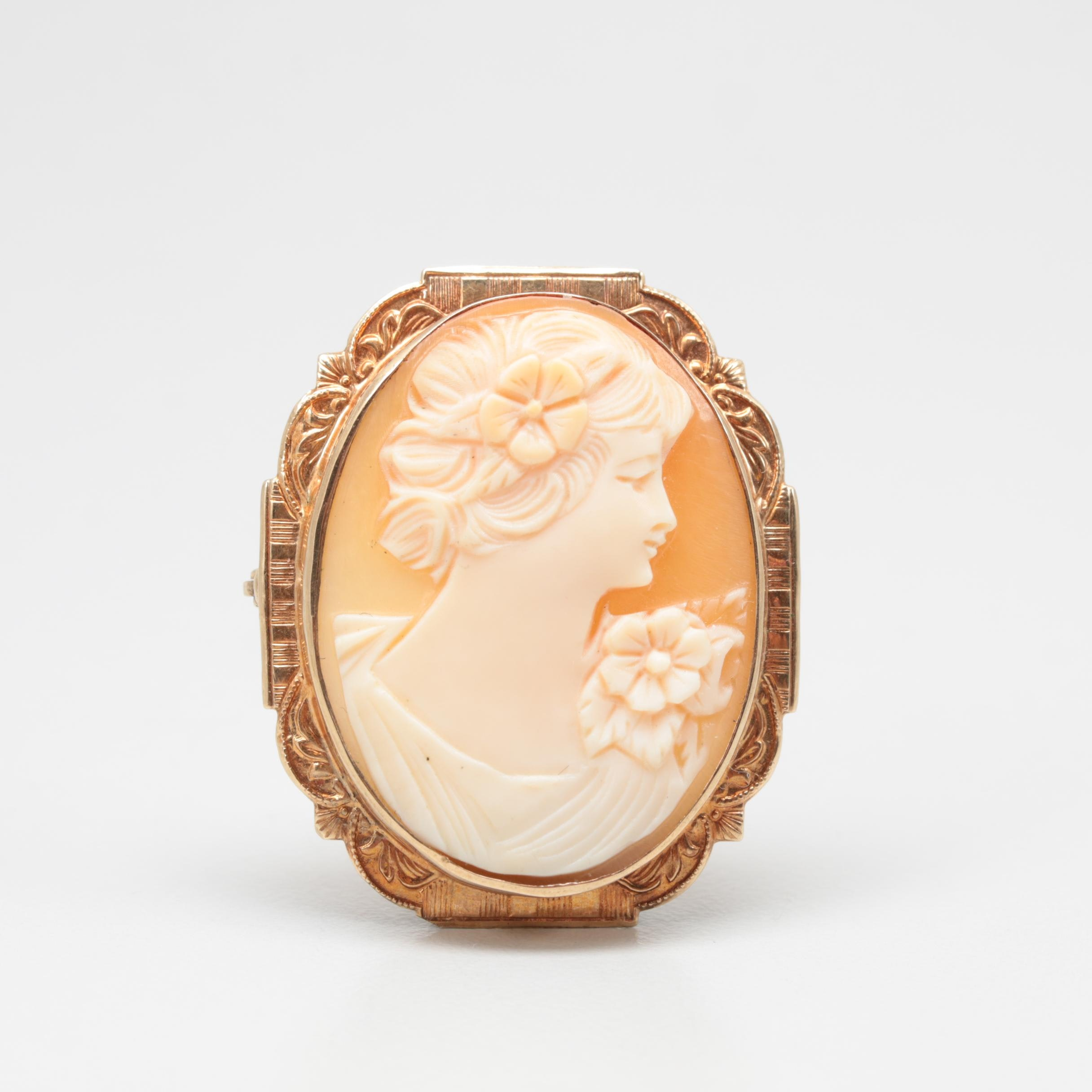 Vintage 10K Yellow Gold Shell Cameo Brooch