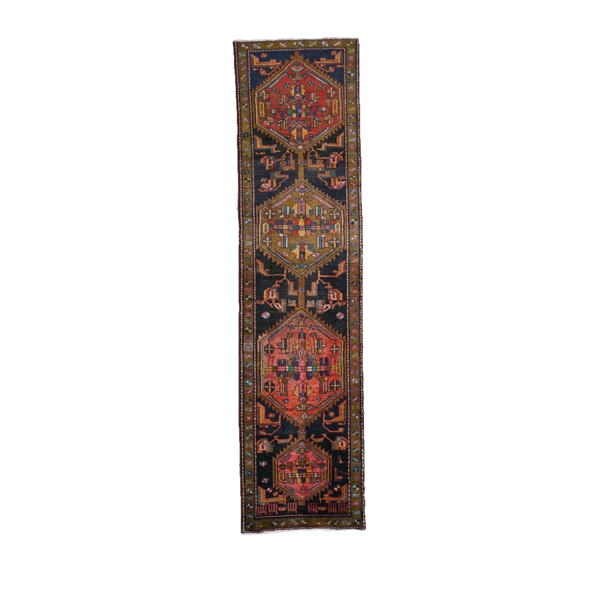 Hand-Knotted Persian Meshkin Wool Runner