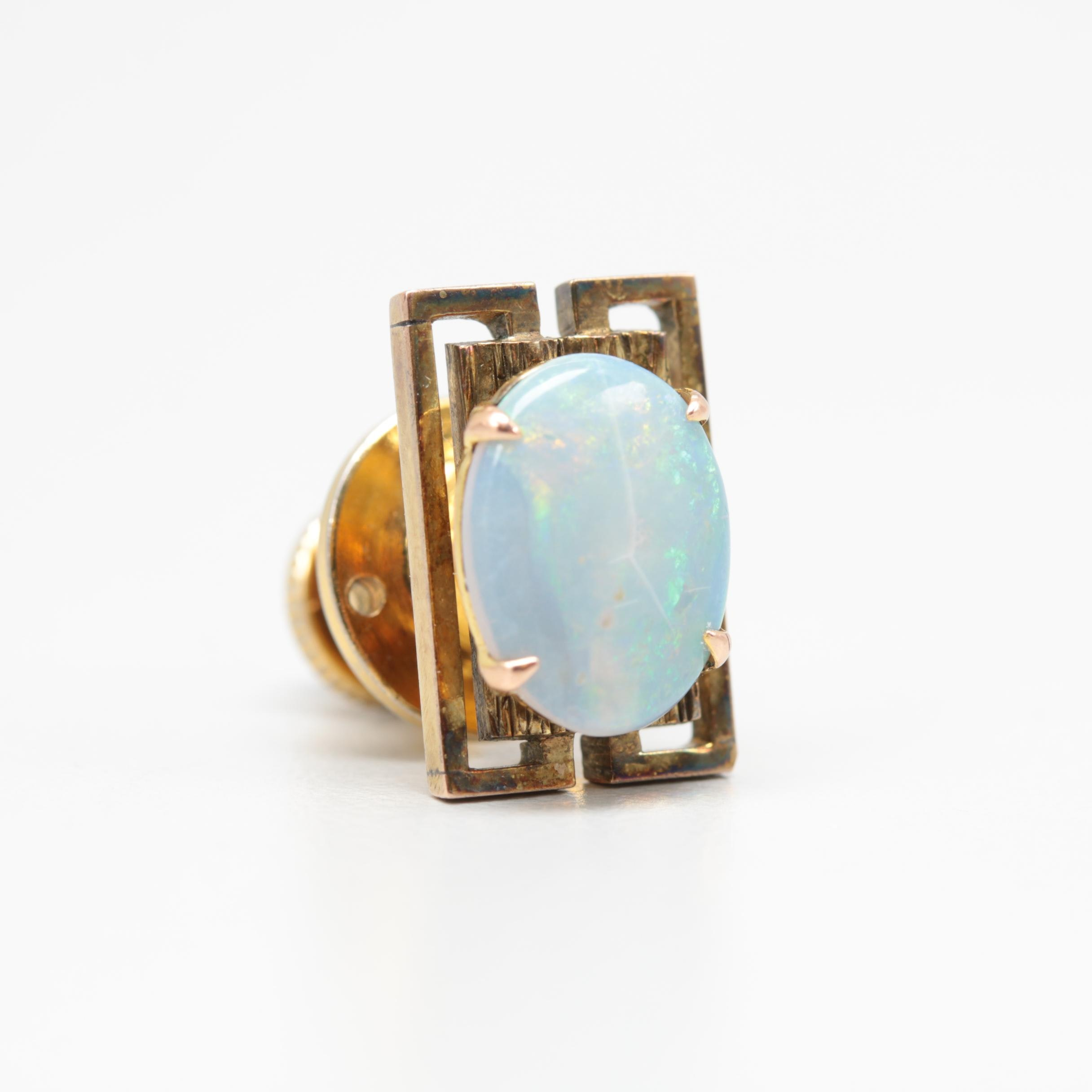 10K Yellow Gold Opal Tie Tack