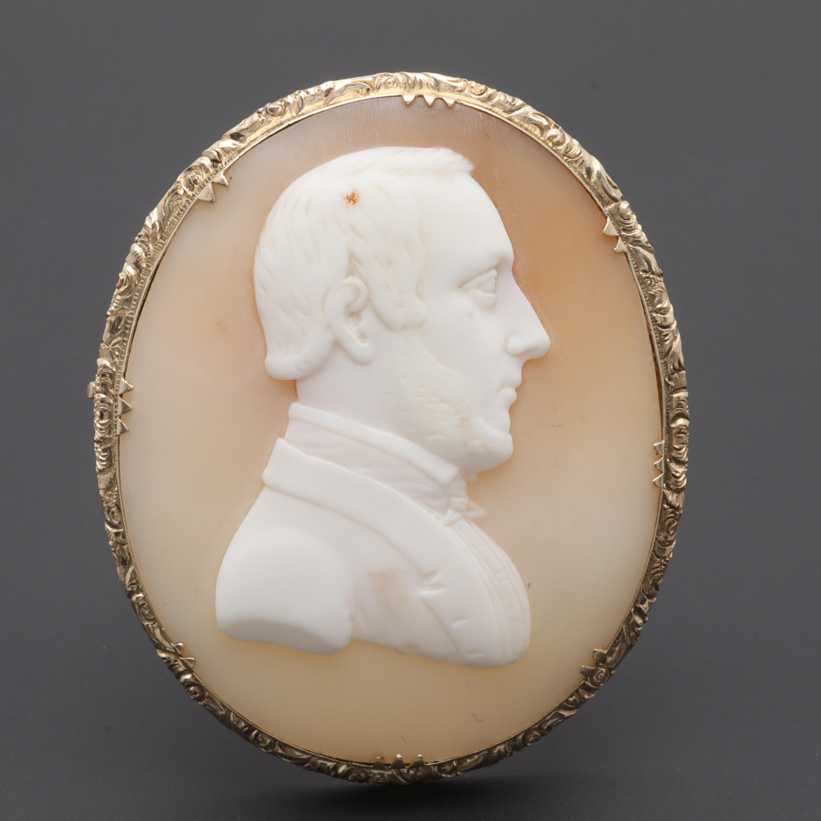 Victorian 10K Gold Filled Shell Cameo Brooch