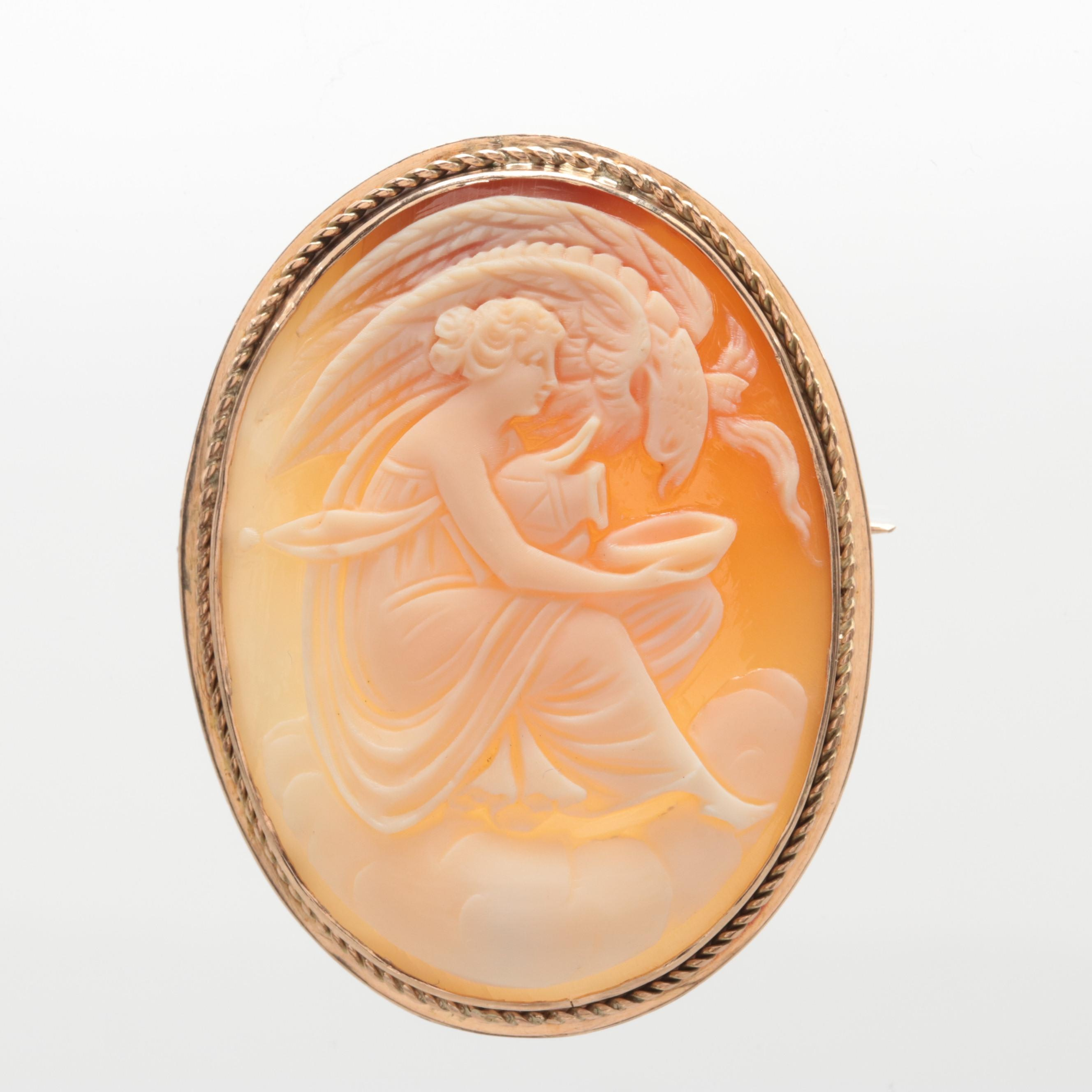 Circa Early 1900's 10K Yellow Gold Shell Cameo Brooch Depicting Hebe with Eagle