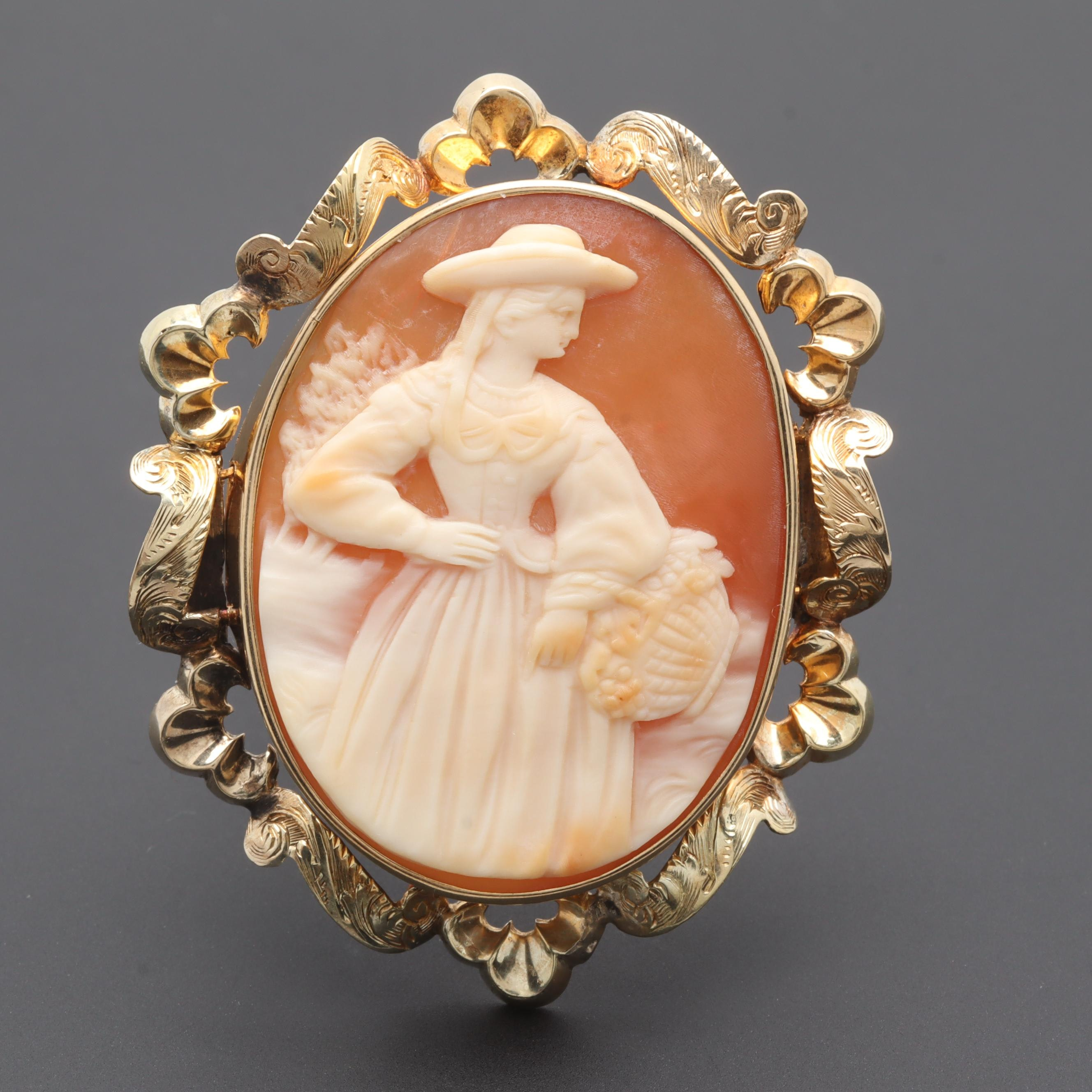 Victorian 14K Yellow Gold Shell Cameo Brooch
