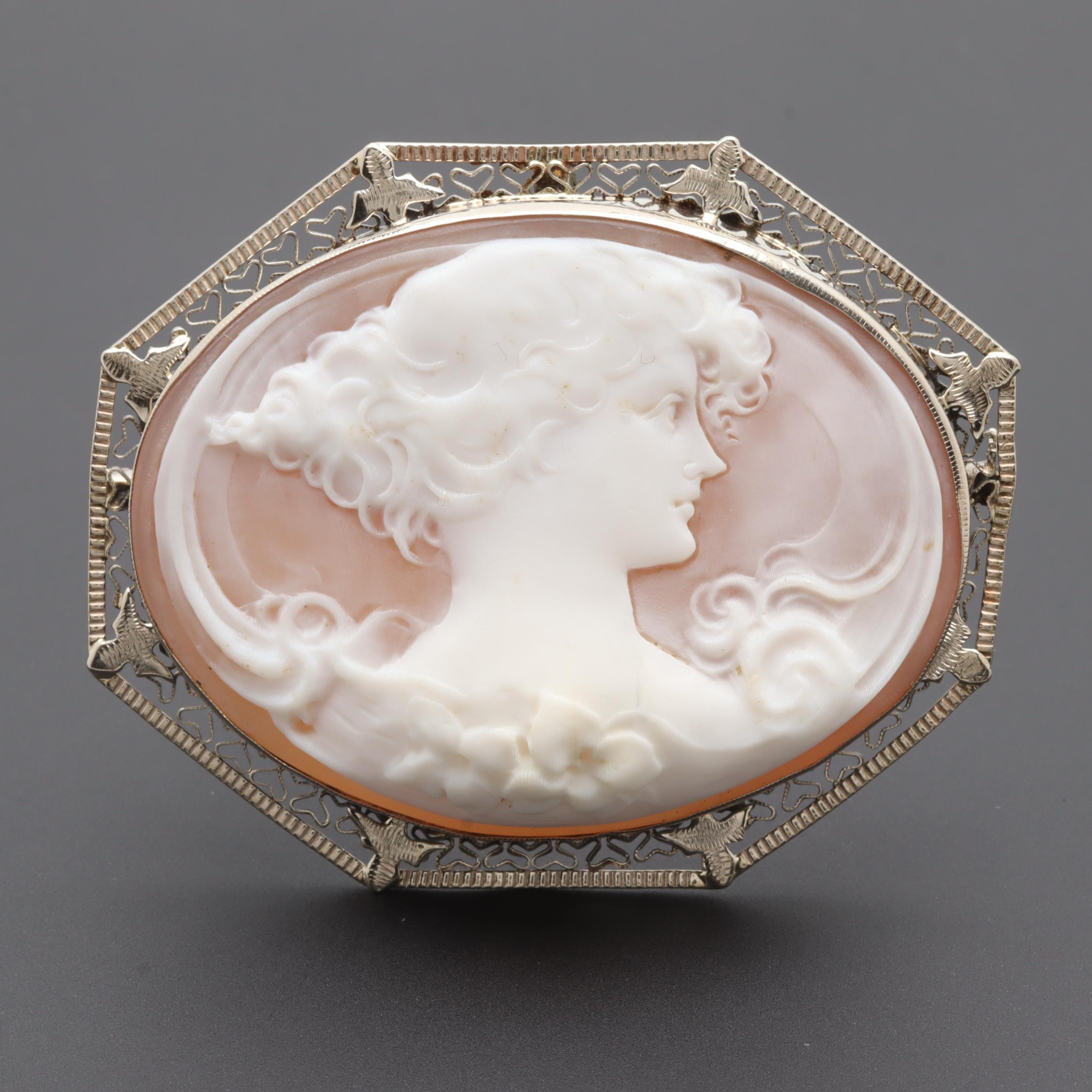 Vintage 14K and 10K White Gold Shell Cameo Converter Brooch