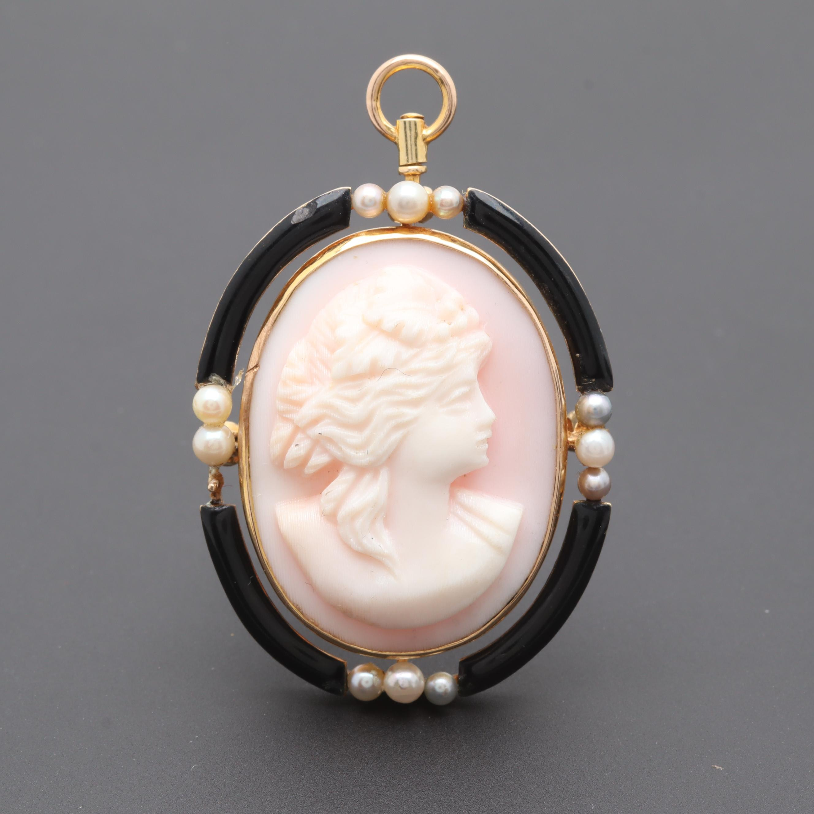 Antique 1900's 14K Gold Conch Shell Cameo and Cultured Pearl Converter Brooch