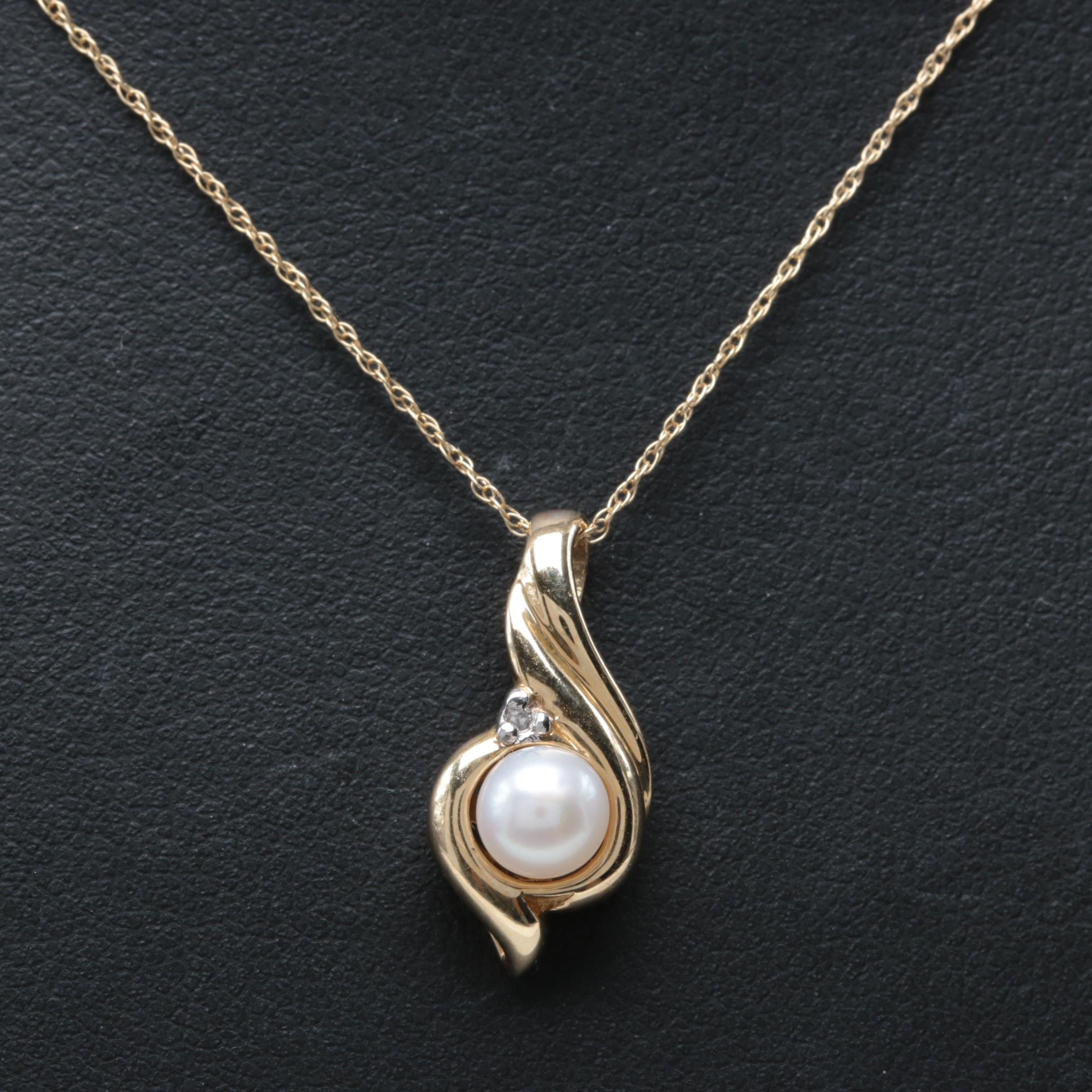 10K Yellow Gold Cultured Pearl and Diamond Pendant Necklace