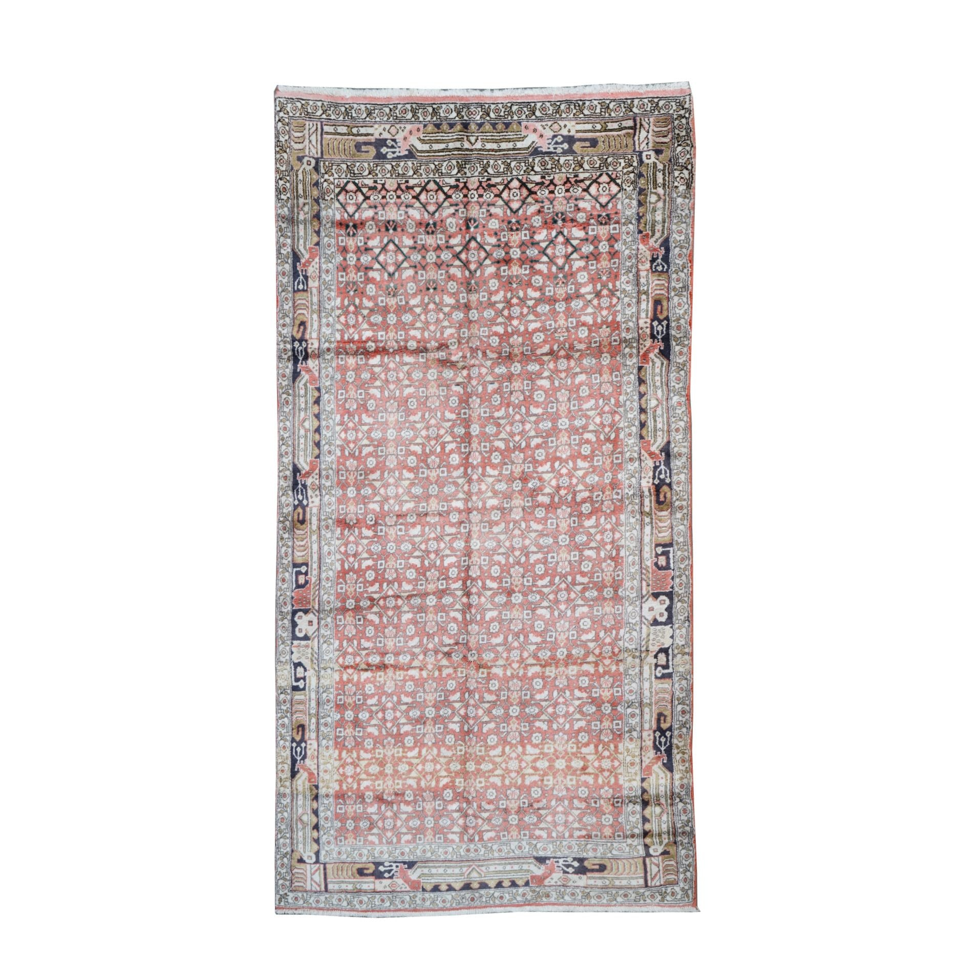 Hand-Knotted Persian Long Rug, Attributed to Hussainabad