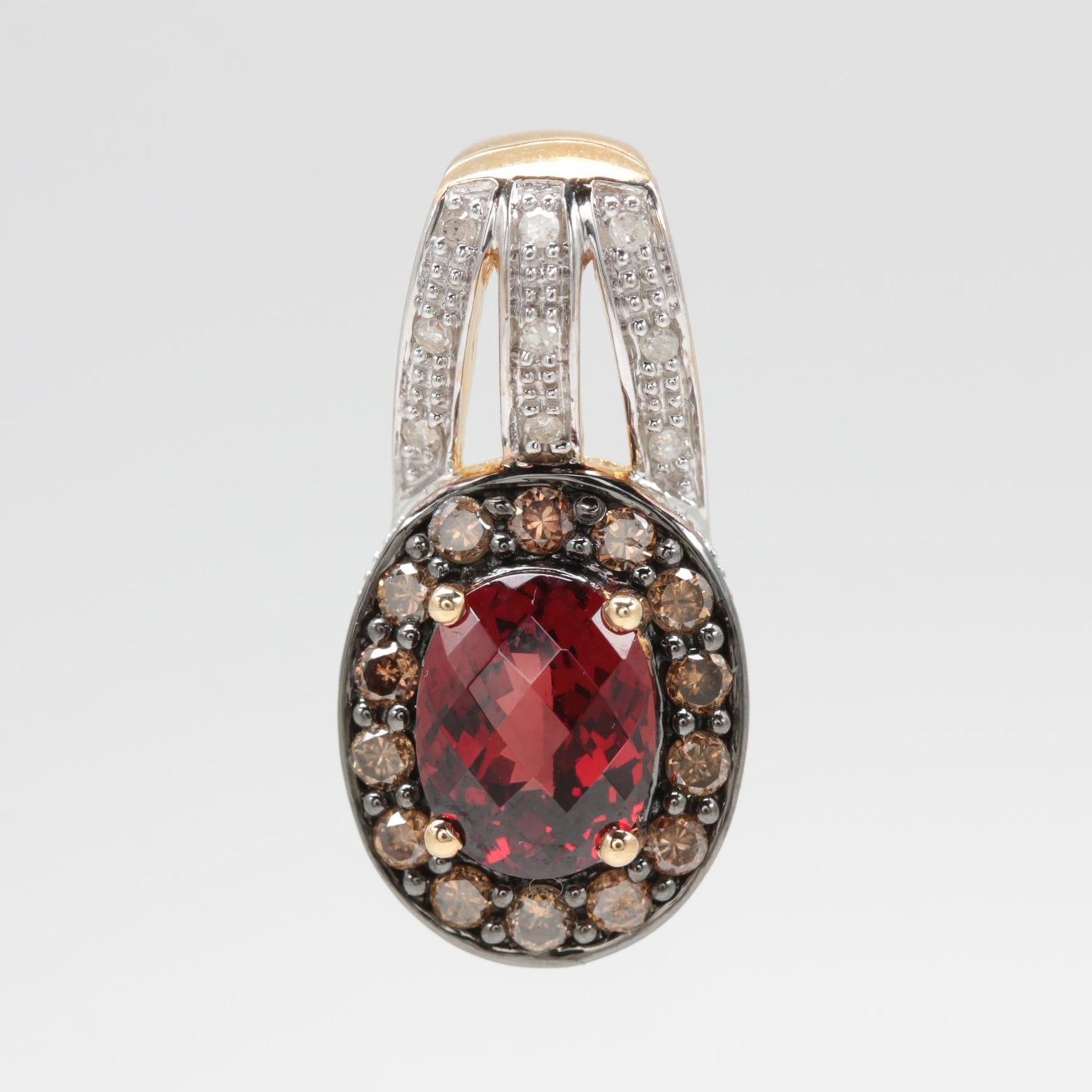 10K Yellow Gold Garnet and Diamond Slide Pendant