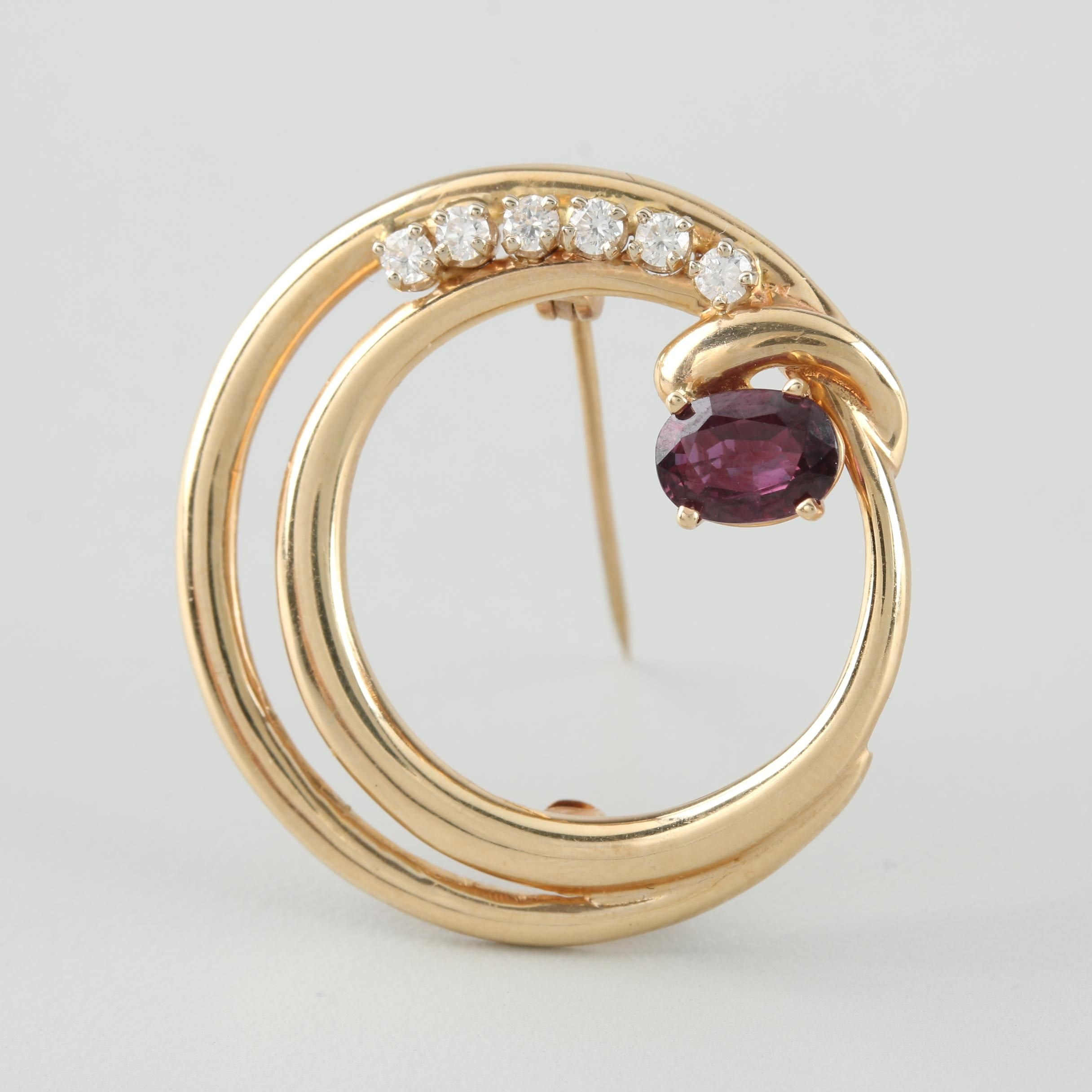 14K Yellow Gold Ruby and Diamond Wreath Brooch