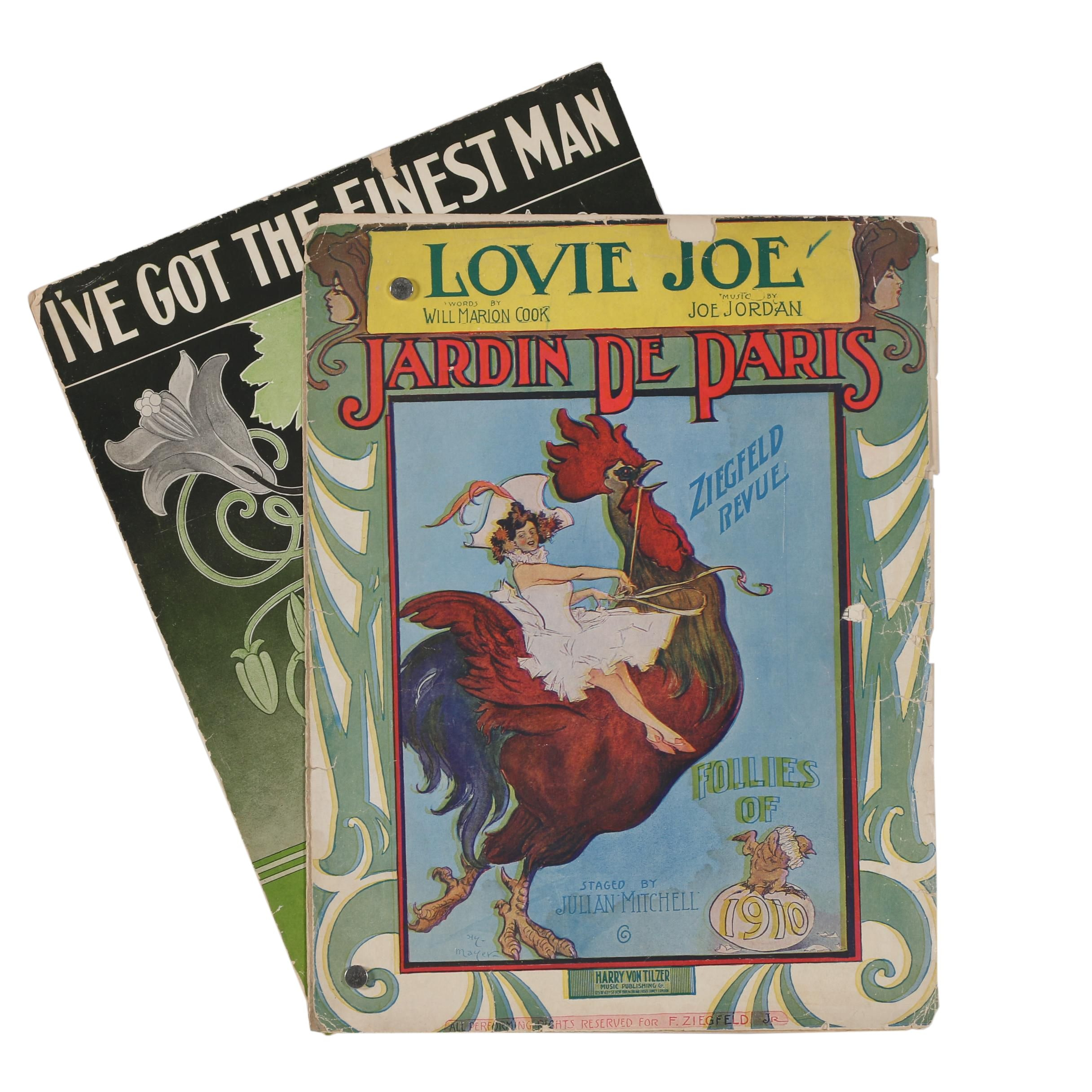 "1910 ""Lovie Joe"" and 1912 ""I've Got the Finest Man"" Sheet Music"