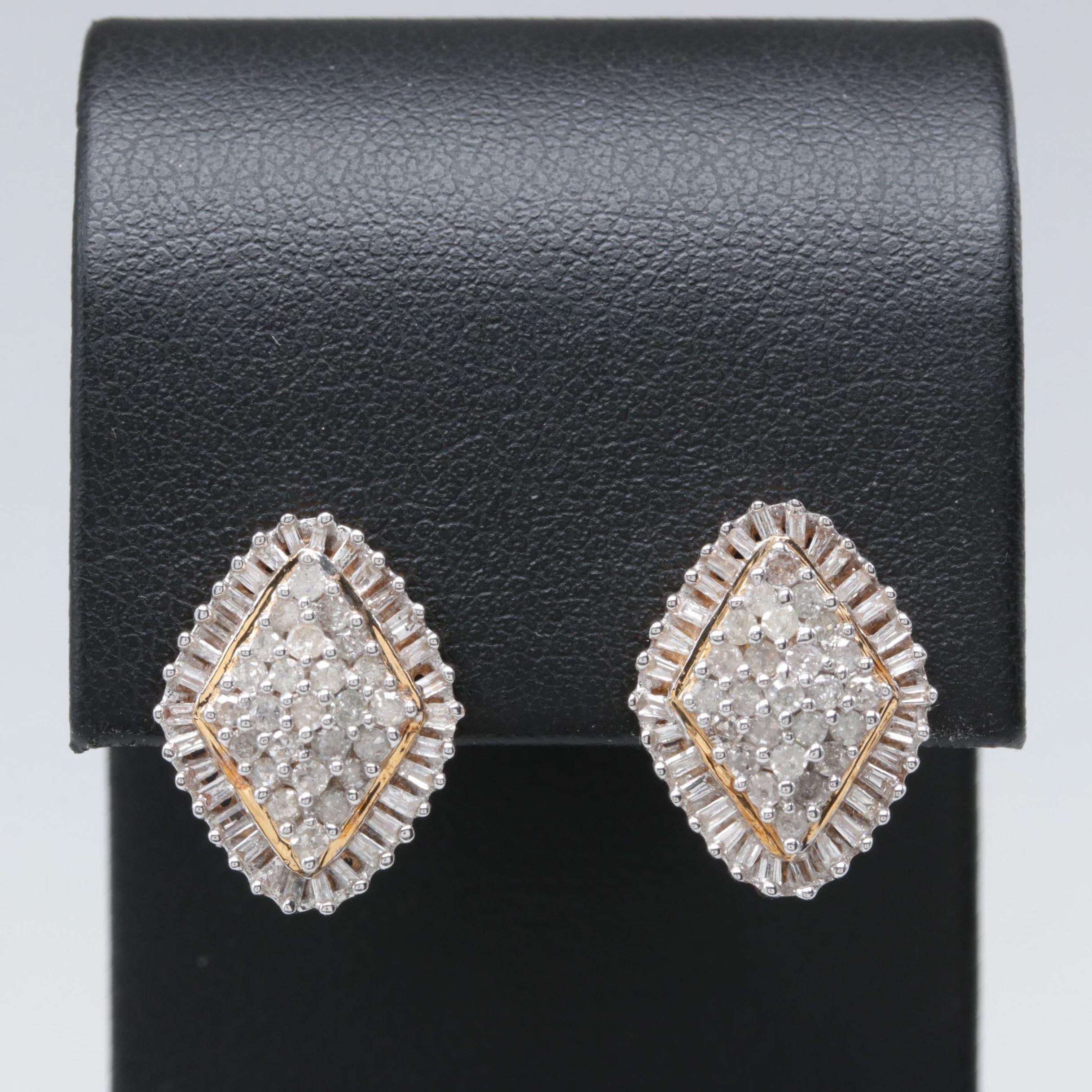 10K Yellow Gold 1.10 CTW Diamond Earrings