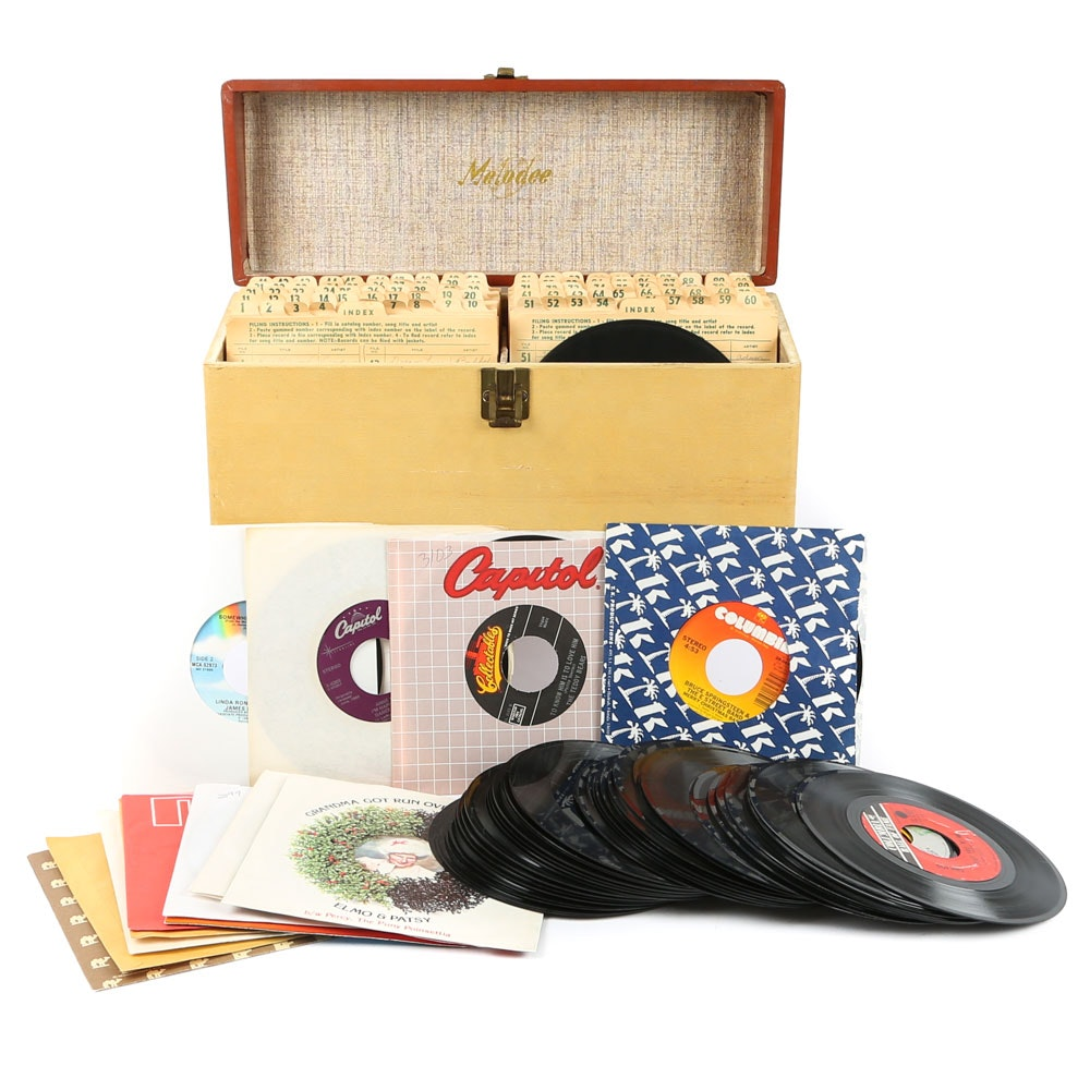 Large Grouping of Vintage Records and Record Box
