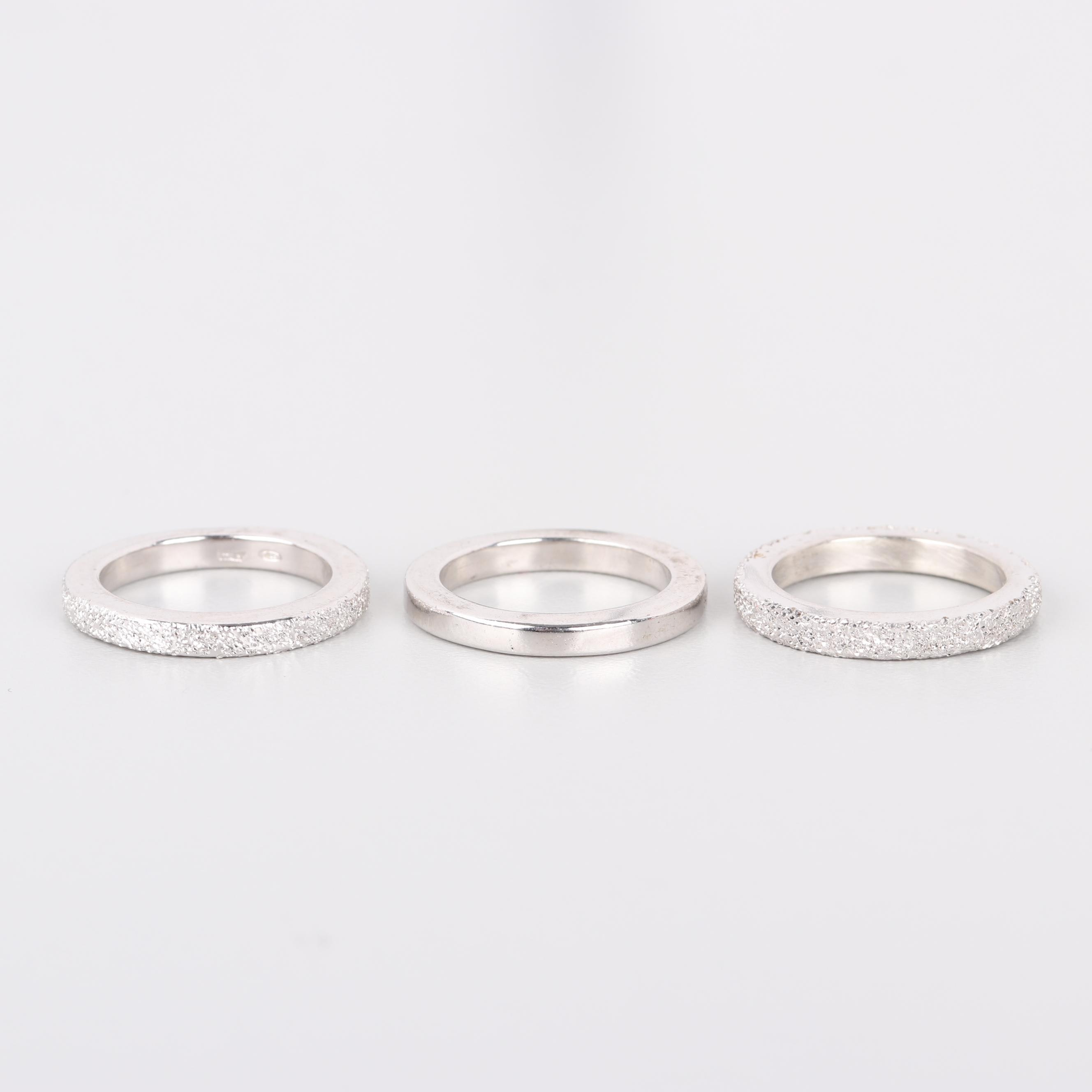 Sterling Silver Glittered Bands