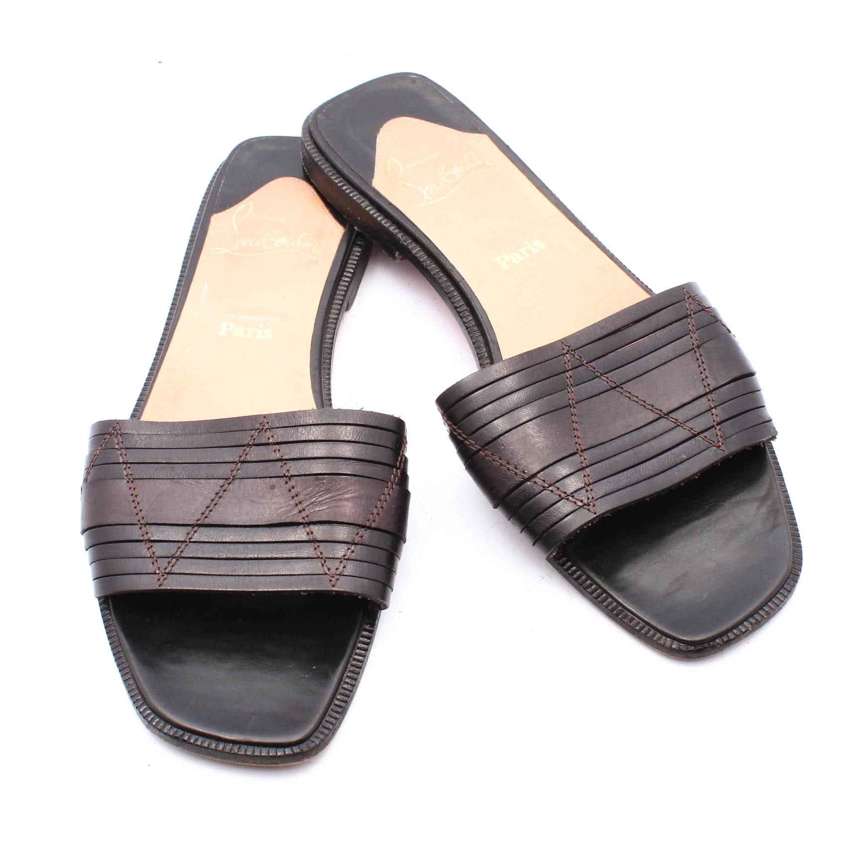 Christian Louboutin of Paris Black Leather Slide Sandals