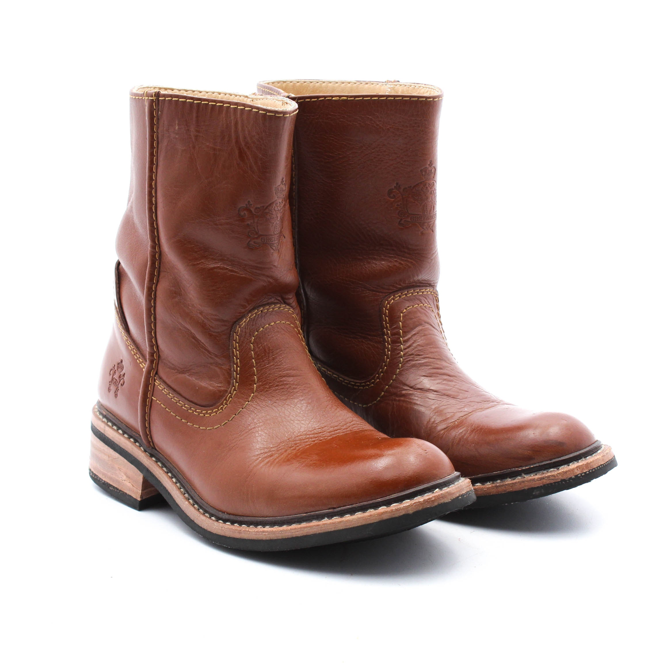 Women's Greenbees Embossed Brown Leather Western Style Boots
