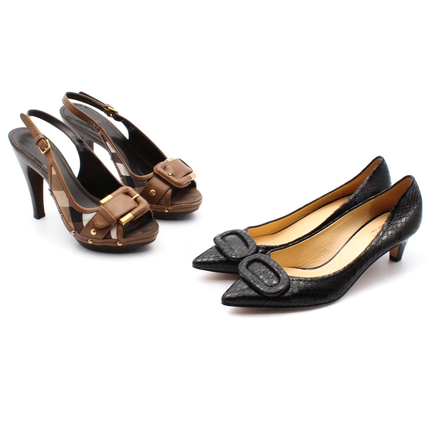 Burberry Canvas and Leather Slingbacks and Kate Spade New York Leather Pumps