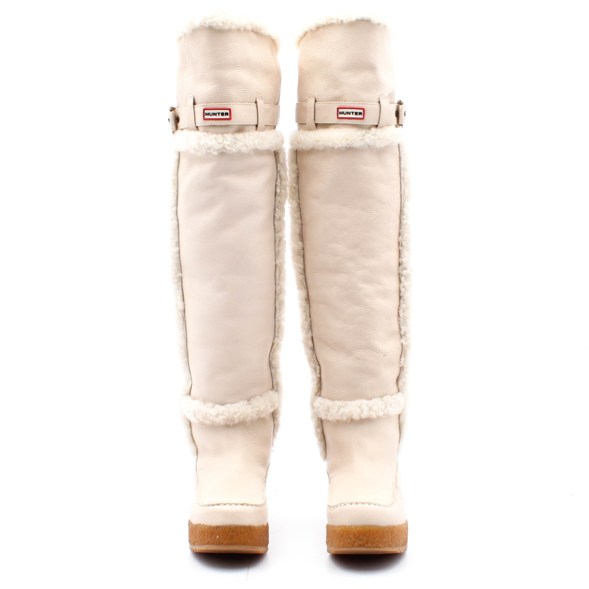 Hunter Shearling Lined Cream Leather Over-the-Knee Platform Boots