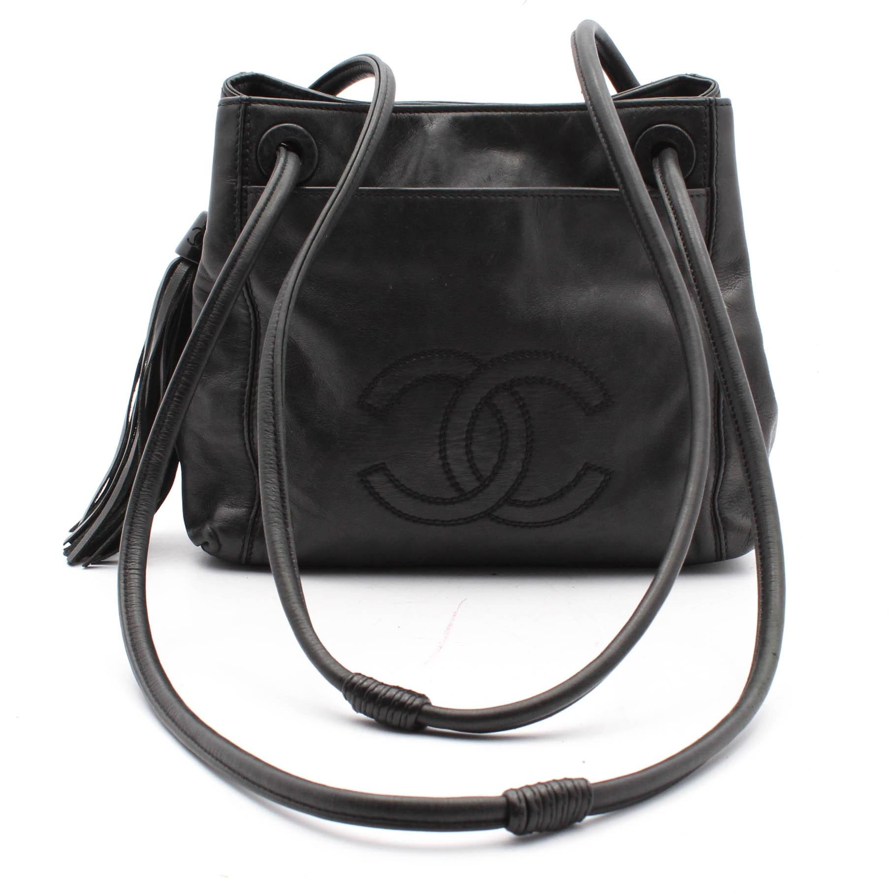 Vintage Chanel Black Lambskin Leather Tasseled Shoulder Bag