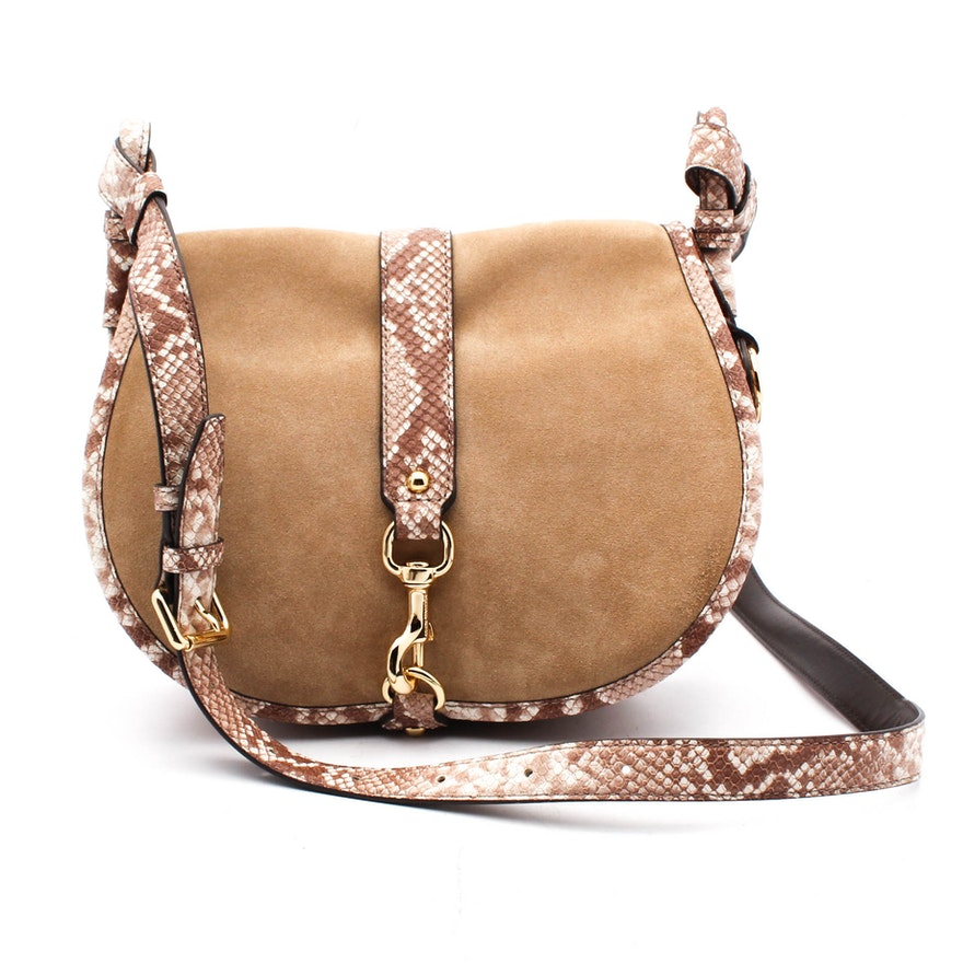 5643ac7e0a42 MICHAEL Michael Kors Suede and Snake Embossed Leather Saddle Bag | EBTH