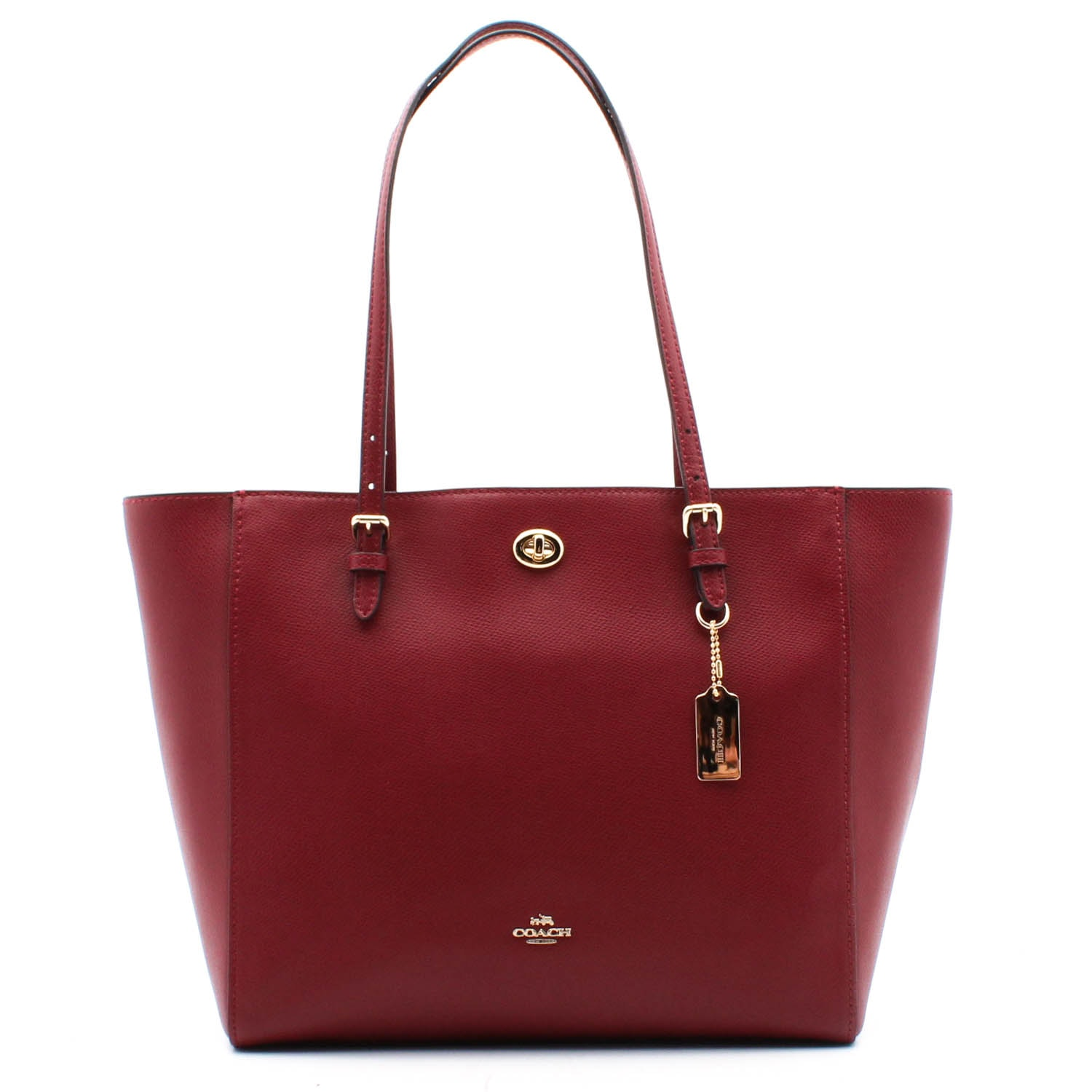 Coach Cranberry Red Pebbled Leather Turnlock Tote