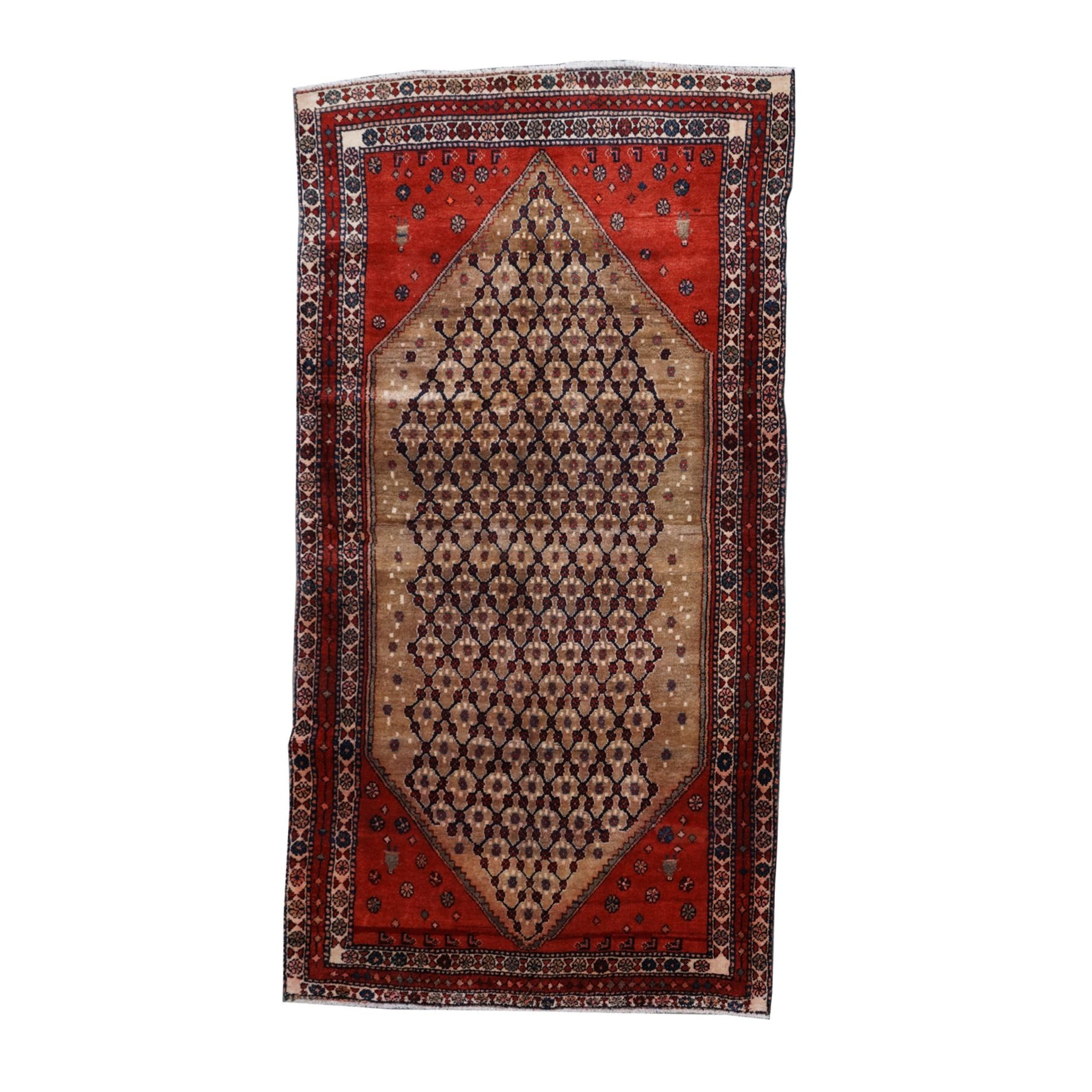 Hand-Knotted Persian Tribal Wool Rug