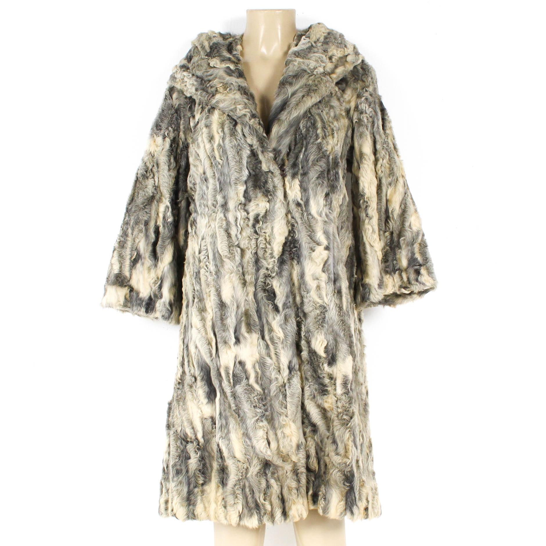 Leakas Furriers Gray Karakal Lamb Fur Coat