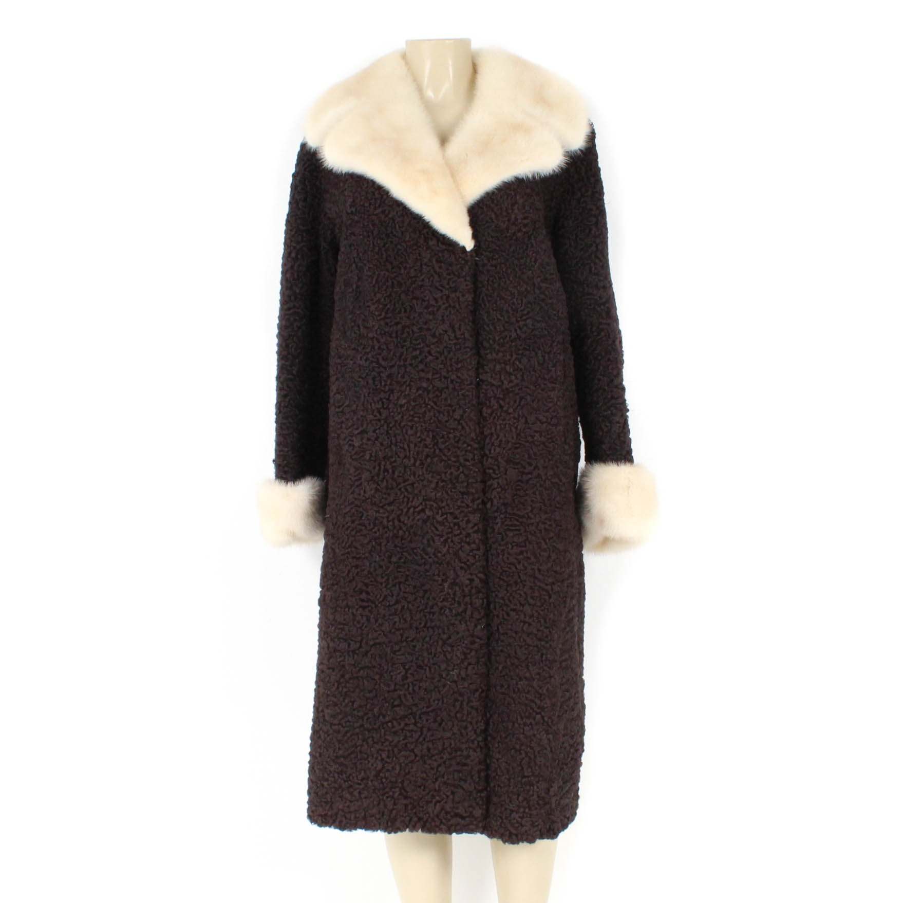 Vintage Woodley's Persian Lamb Coat with Platinum Mink Fur Trim