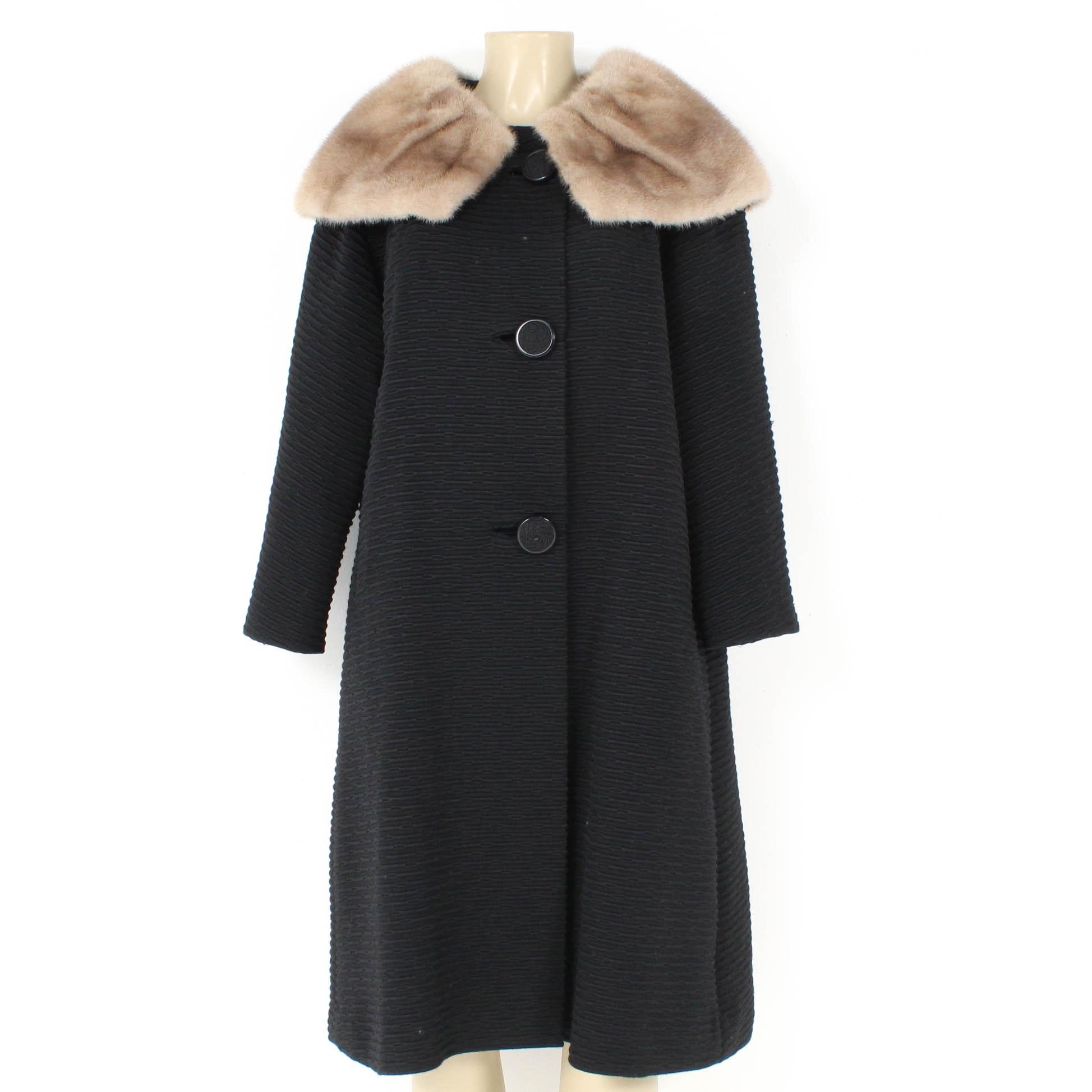 Vintage Len Artel Coat with Mink Fur Shawl Collar