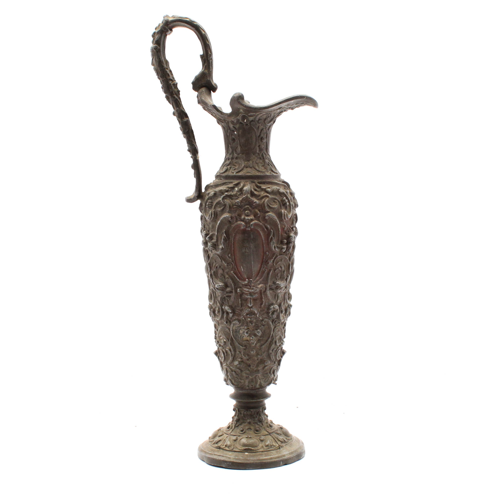 Antique Foliate and Scrolled Decorative Cast Metal Handled Ewer