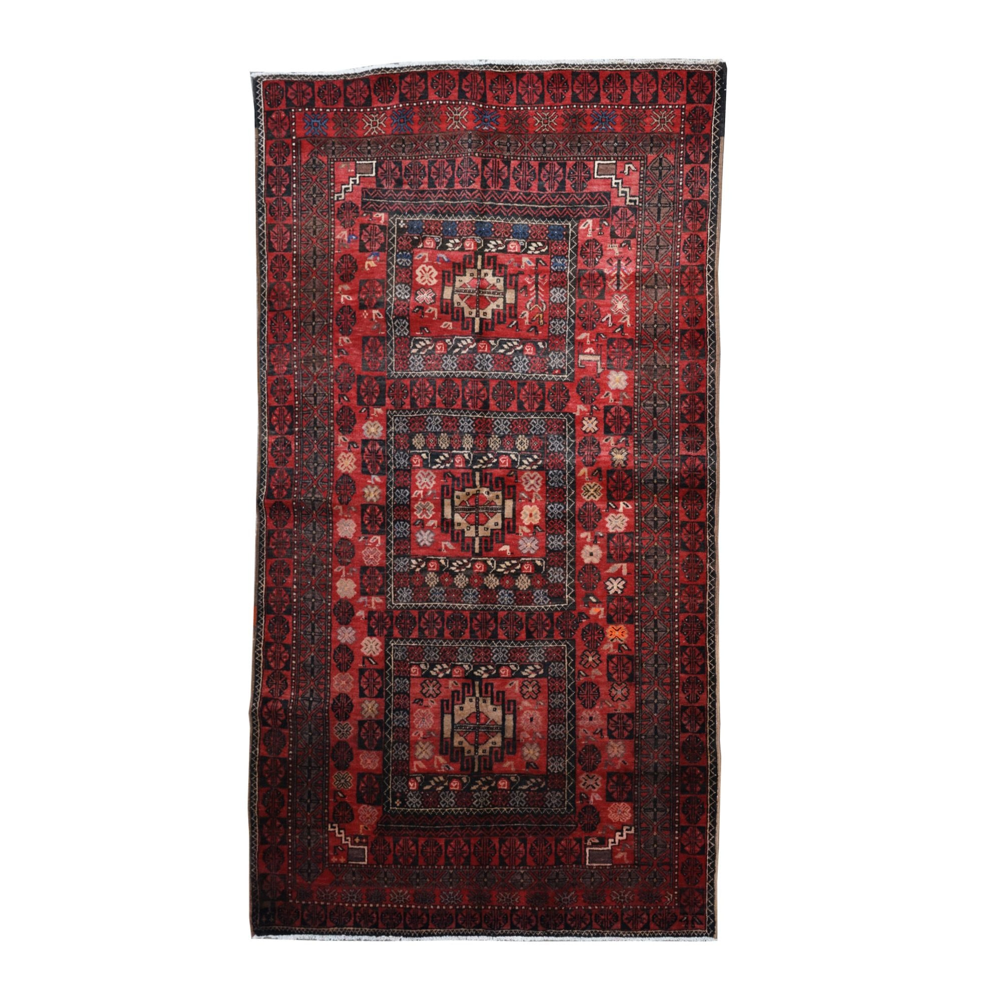 Hand-Knotted Afghan Bokhara Rug