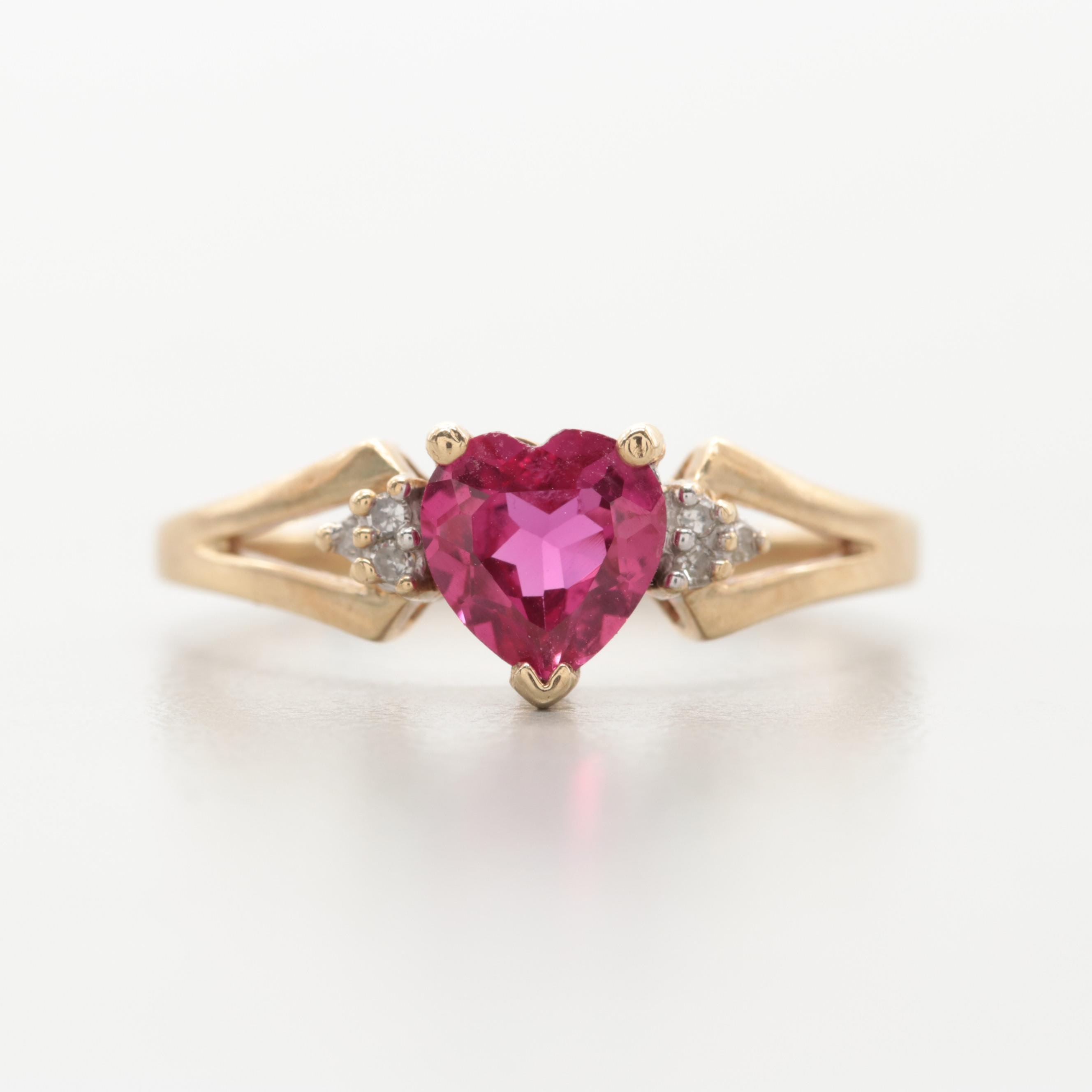 10K Yellow Gold Synthetic Ruby and Diamond Heart Ring