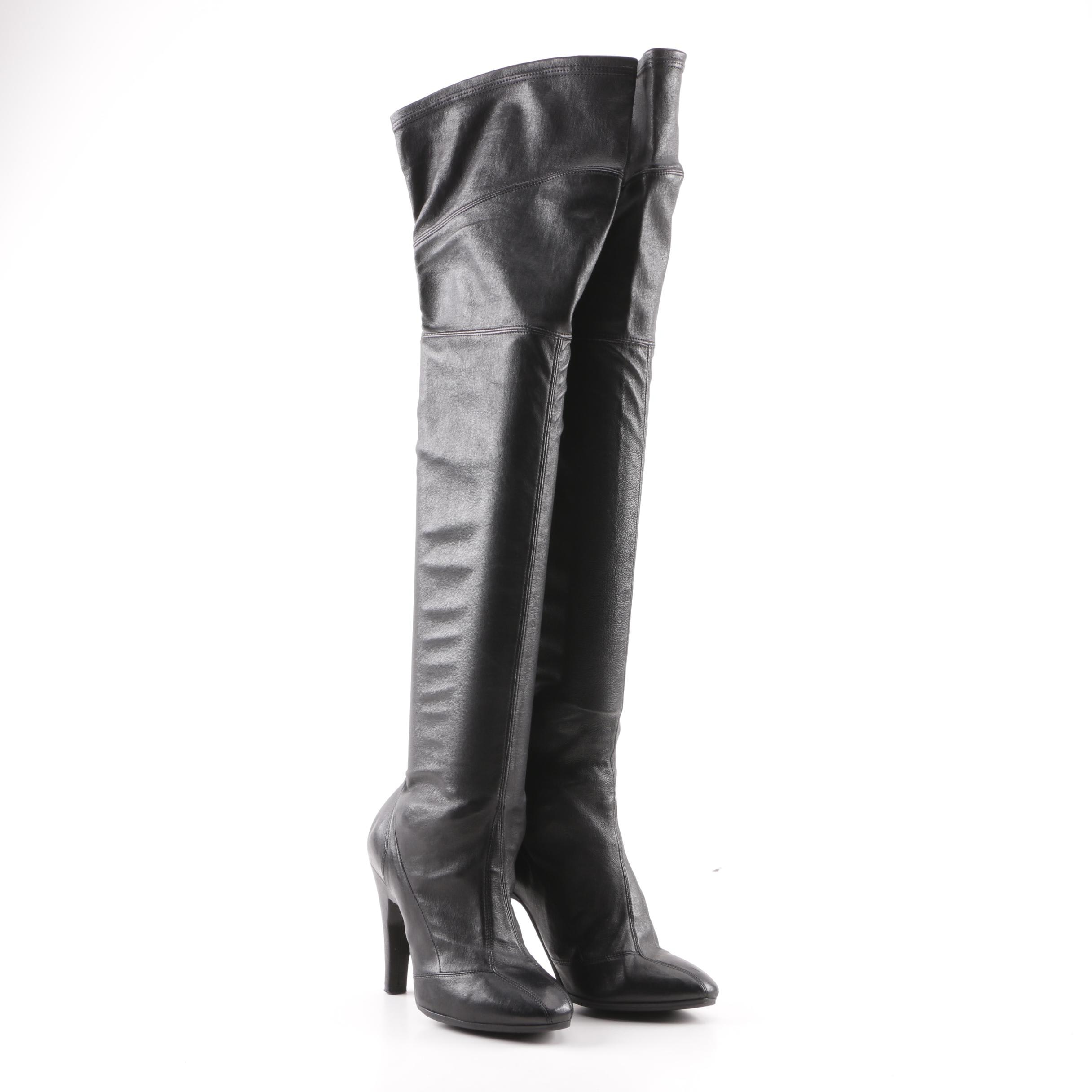 Women's Stephen Venezia Black Leather Over-the-Knee High-Heeled Boots