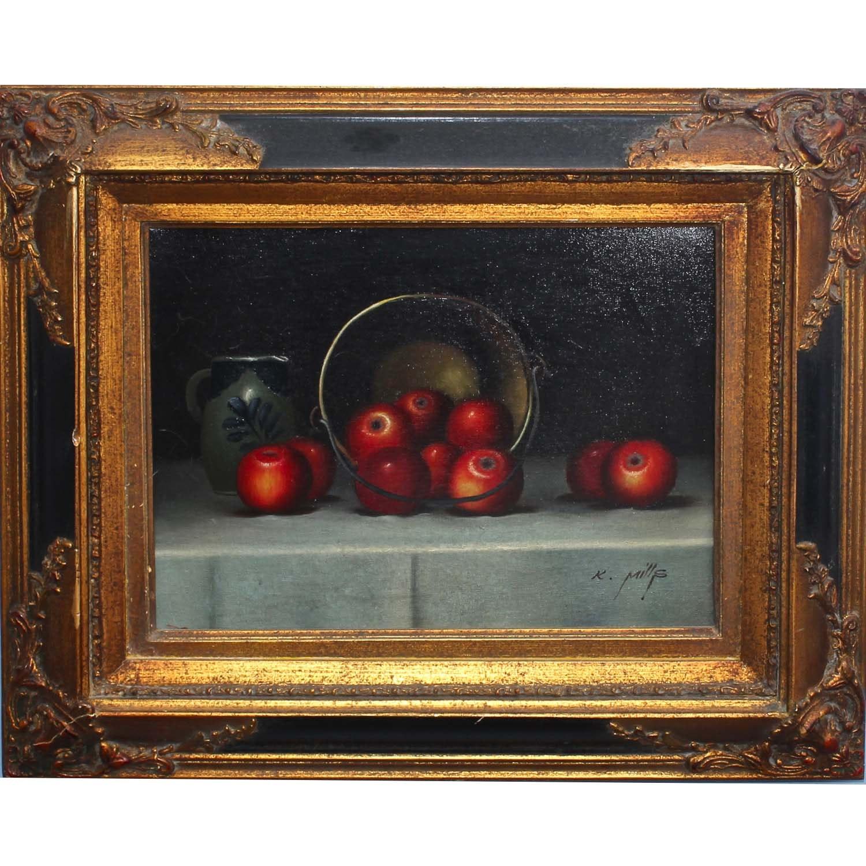 K. Mills Signed Oil on Canvas Still Life