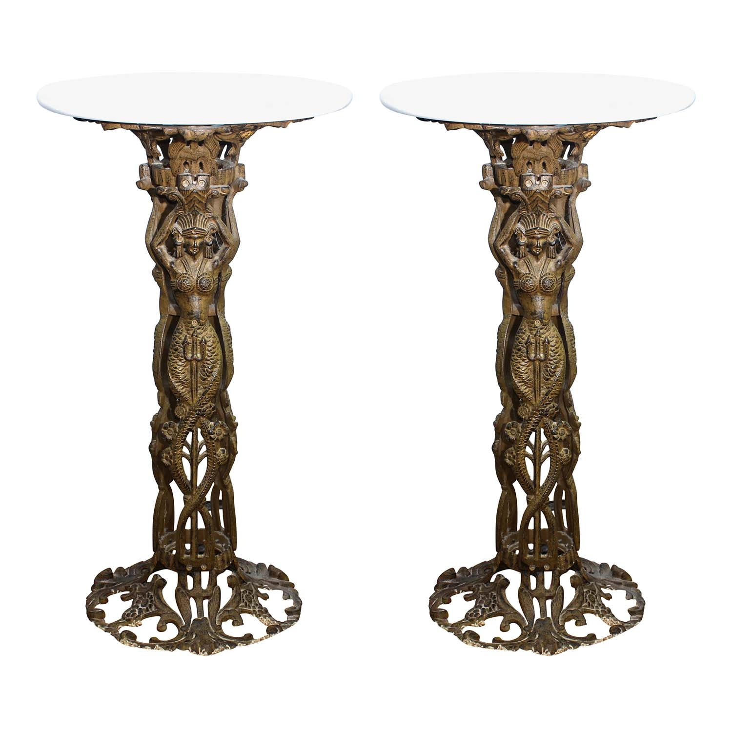 Pair of Vintage Marble and Iron Figural Round End Tables