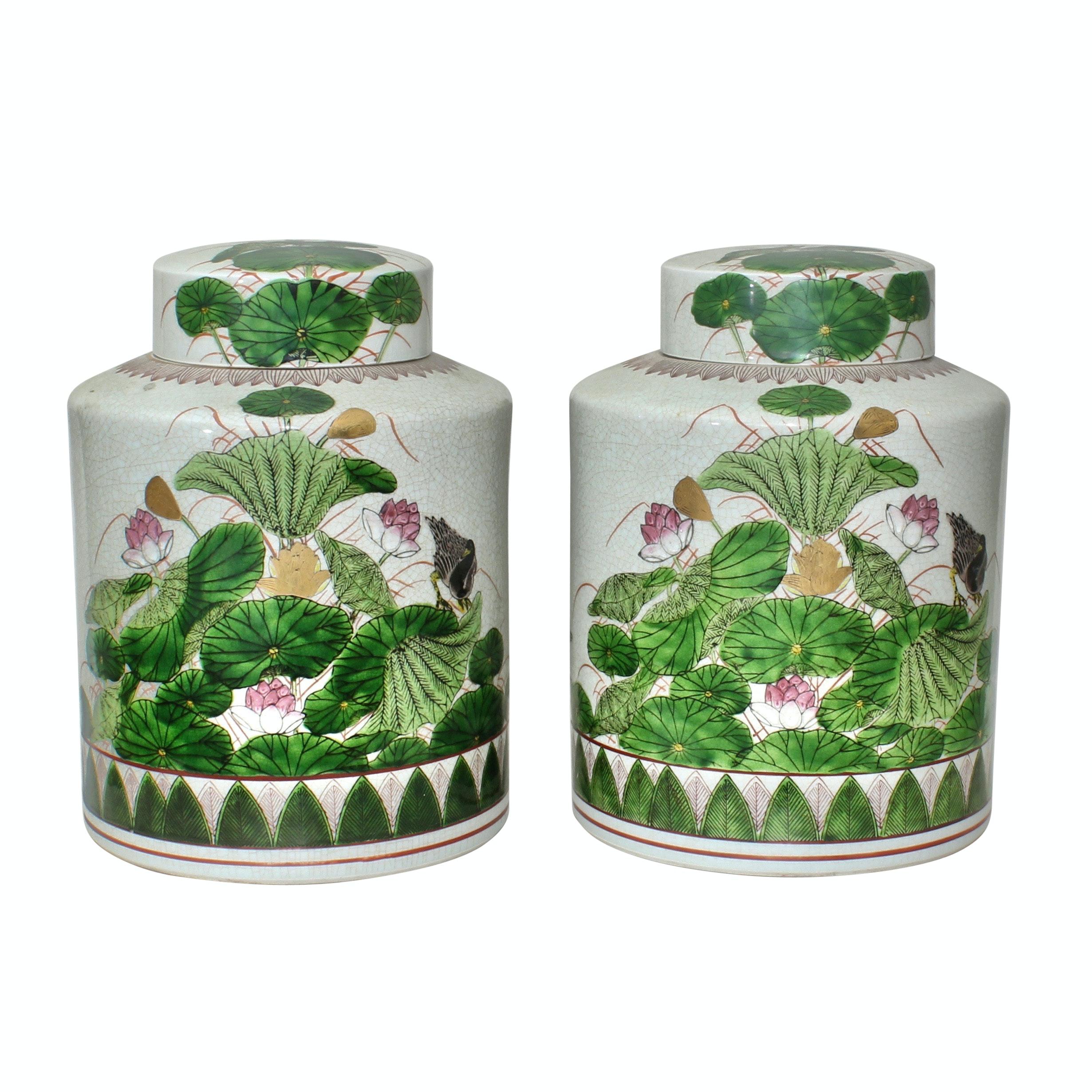 Two Vintage Fitz and Floyd Lidded Japanese Ceramic Jars