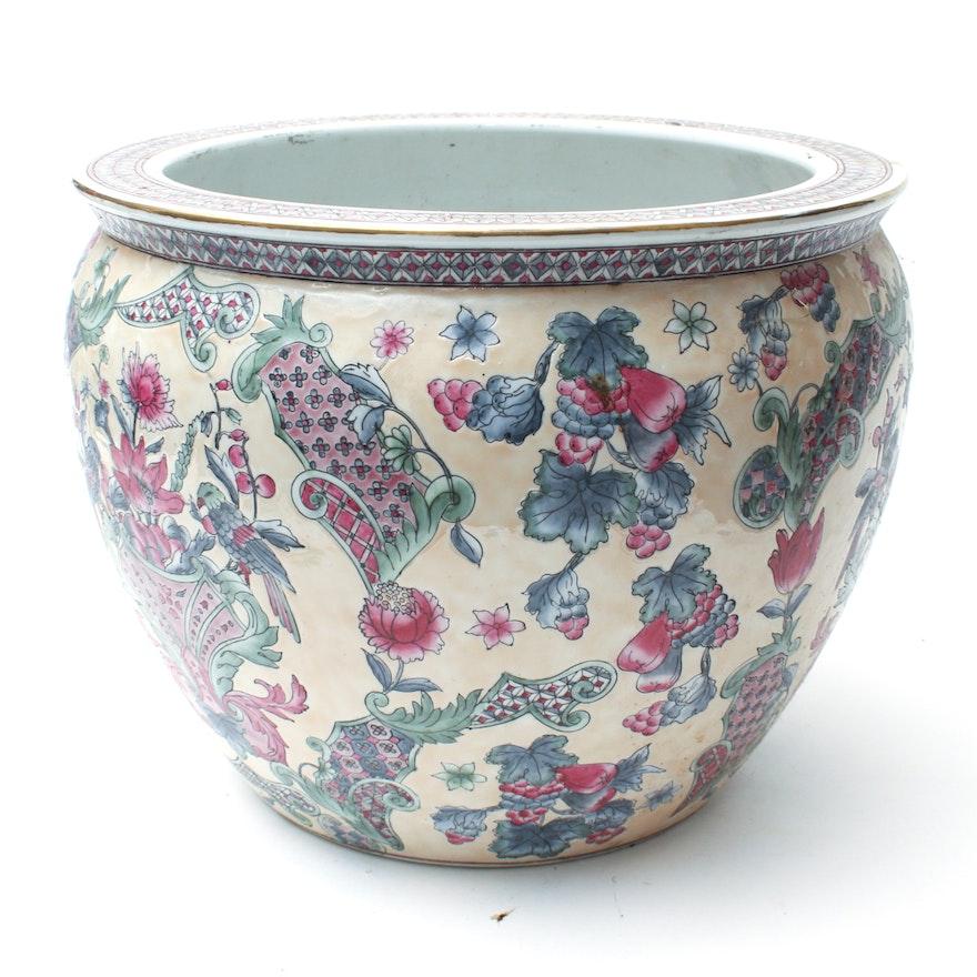 Large Floral Ceramic Fish Bowl Planter Ebth