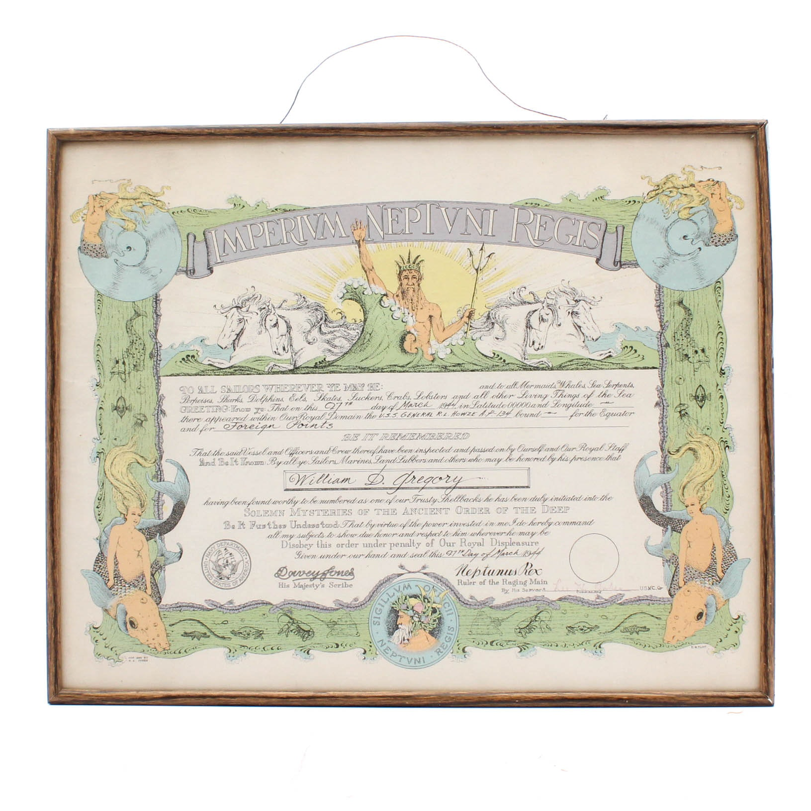 "1944 U.S. Navy ""Shellback"" Equatorial Crossing Certificate"