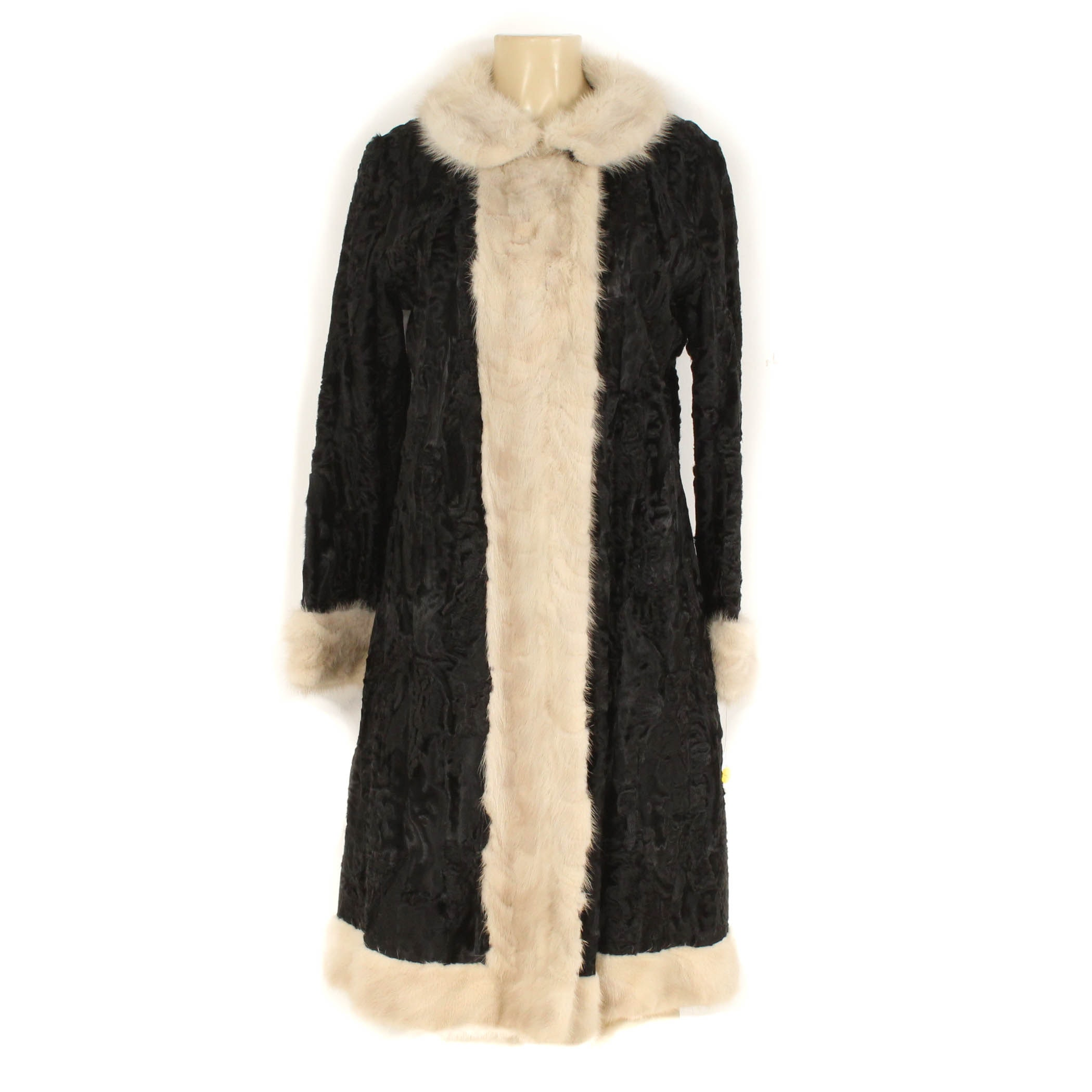 Vintage Black Broadtail and Blonde Paw Mink Fur Coat