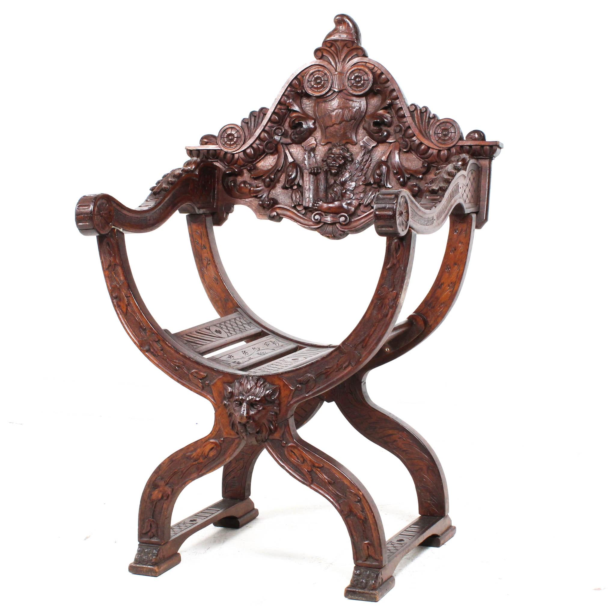 Antique Savonarola Renaissance Revival Chair