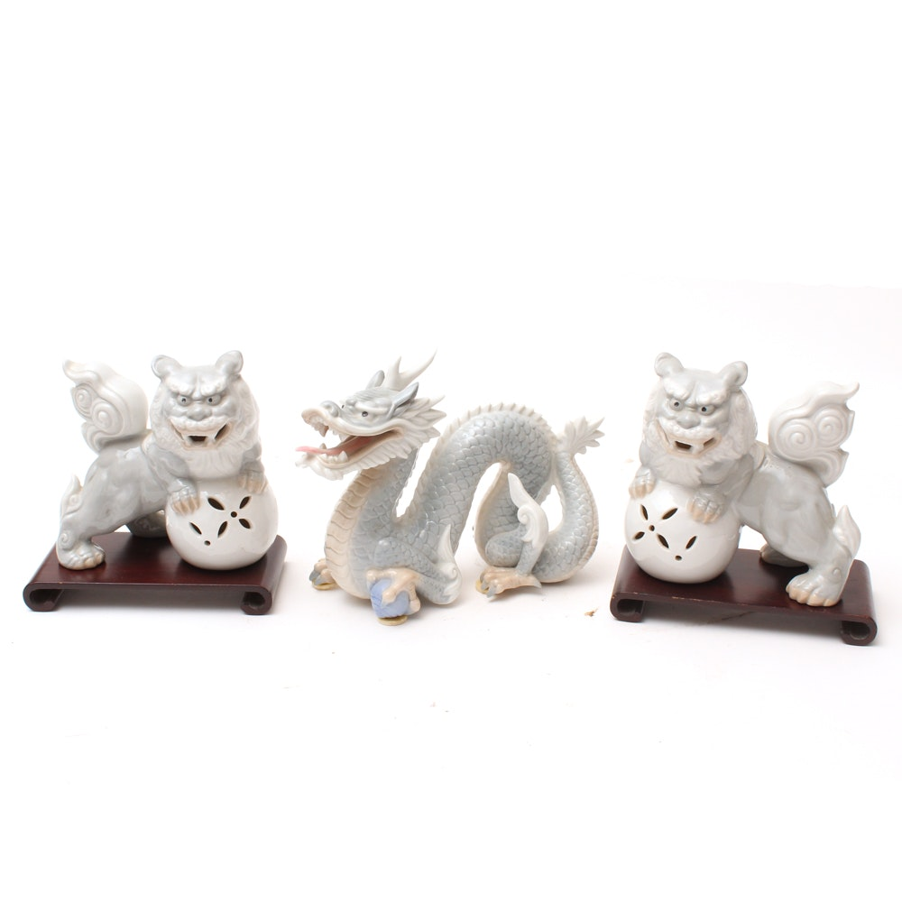 Andrea by Sadek Guardian Lion Figurines with Dragon Figure