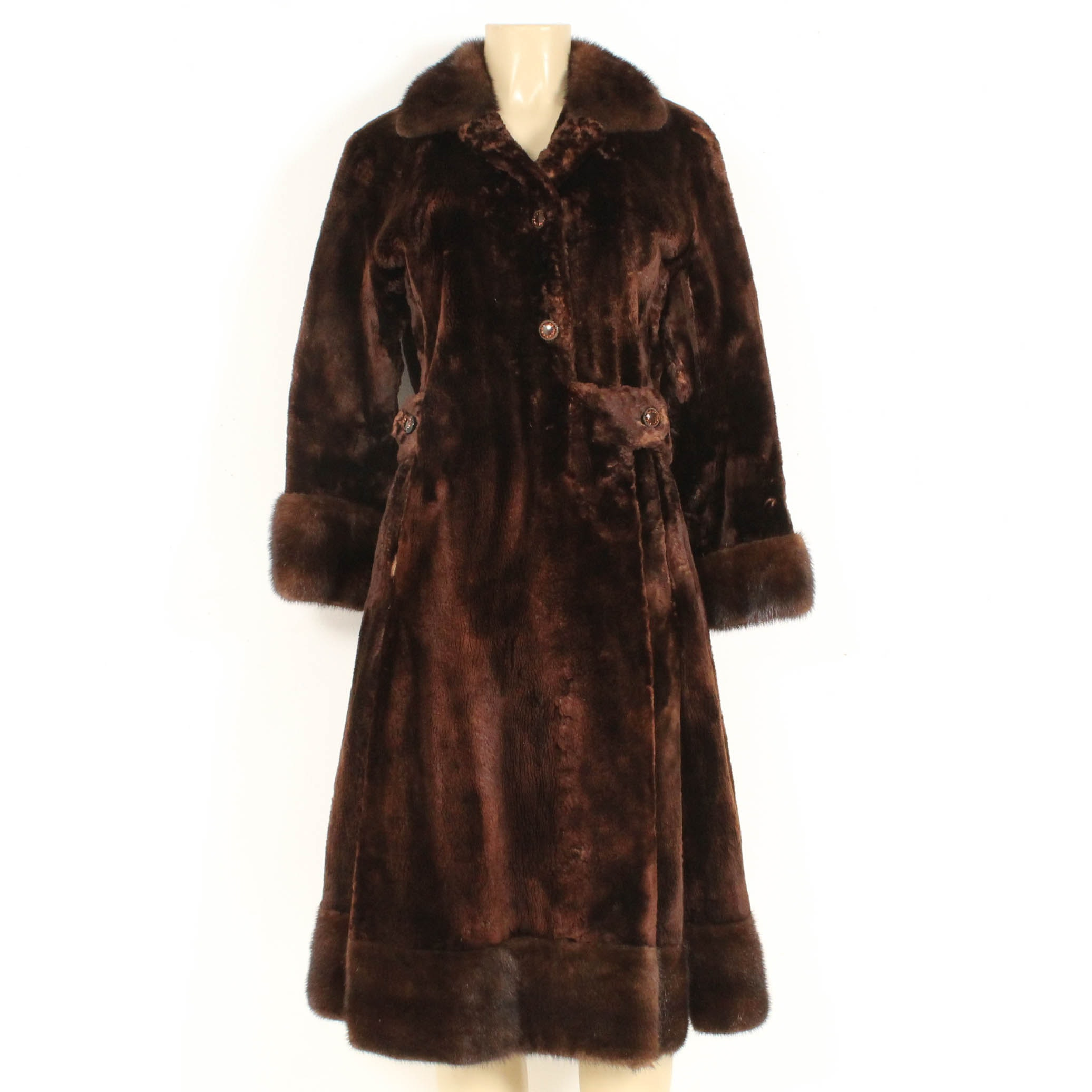 Vintage Sheared Beaver and Mink Fur Coat