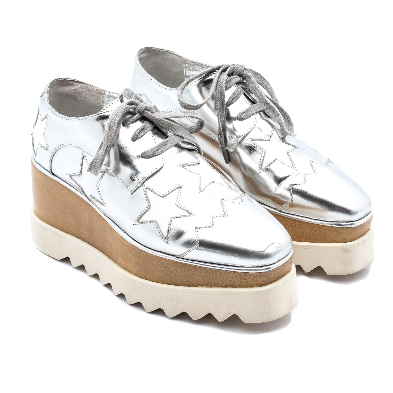 Stella McCartney Silver Metallic Platform Sneakers with Stars