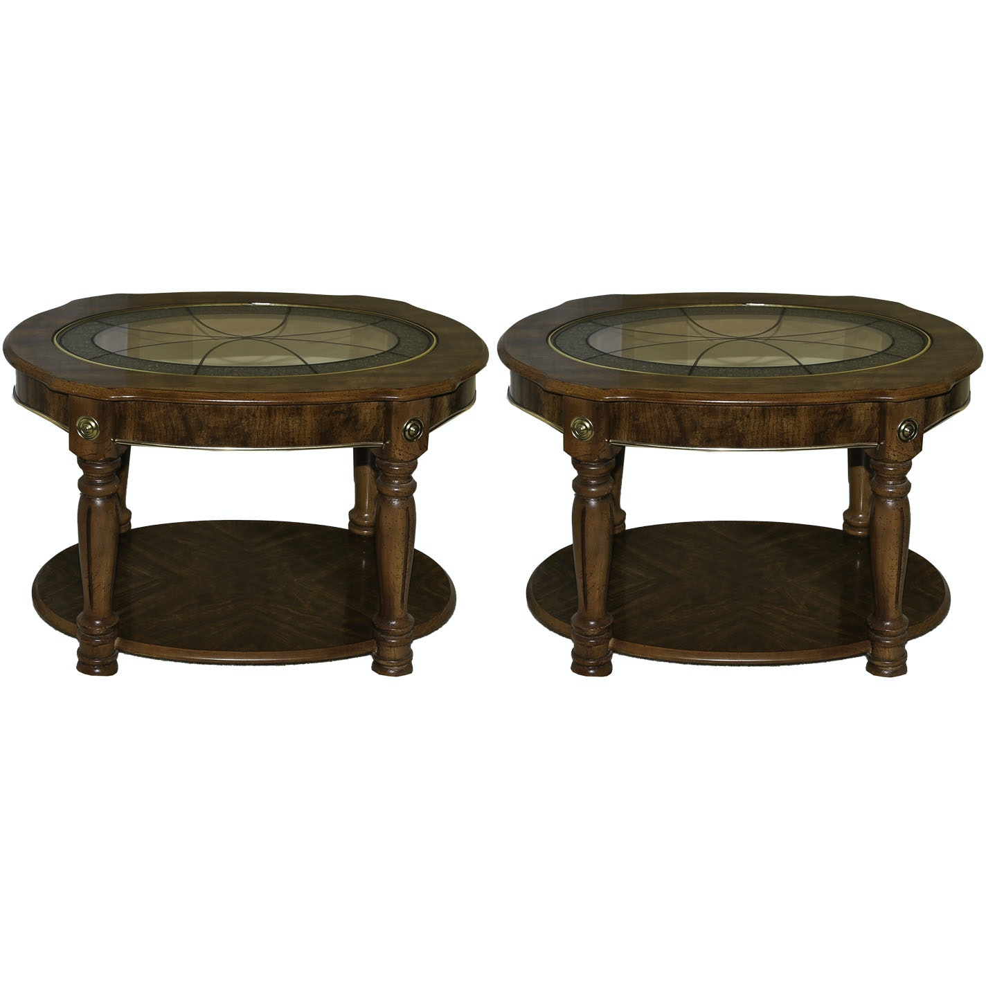 Contemporary Oak Laminate Glass Top Side Tables