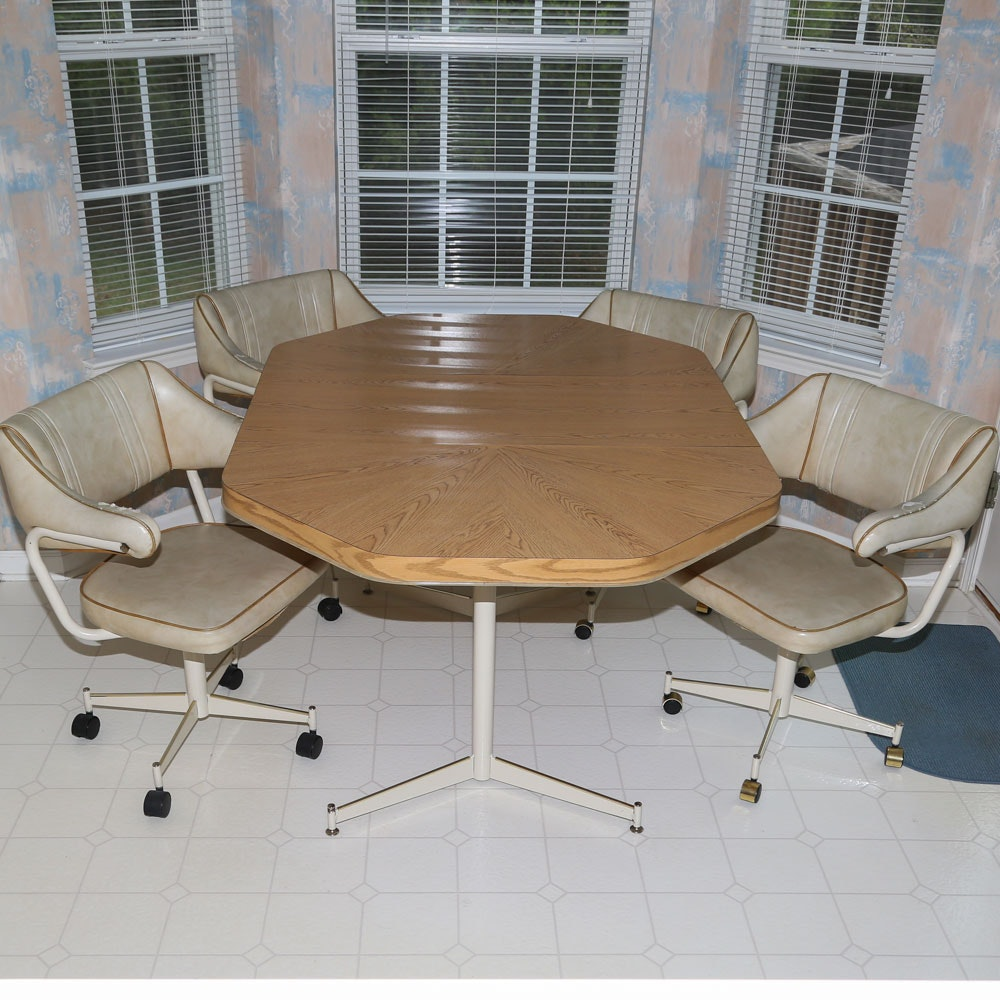 Oak Laminate Dining Table with Vinyl Dining Chairs, Mid 20th Century