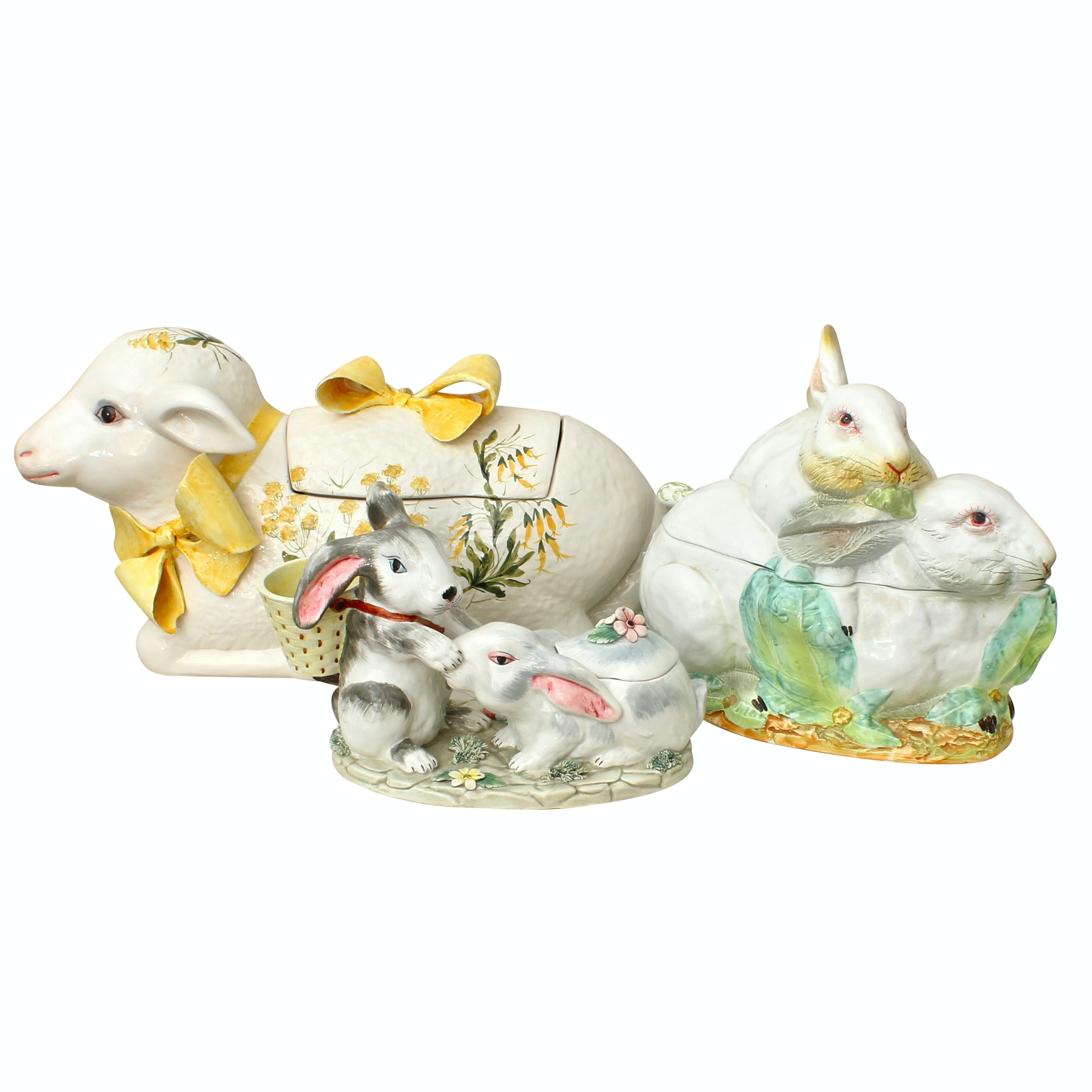 Three Italian Porcelain Tureens of Rabbits and Lamb